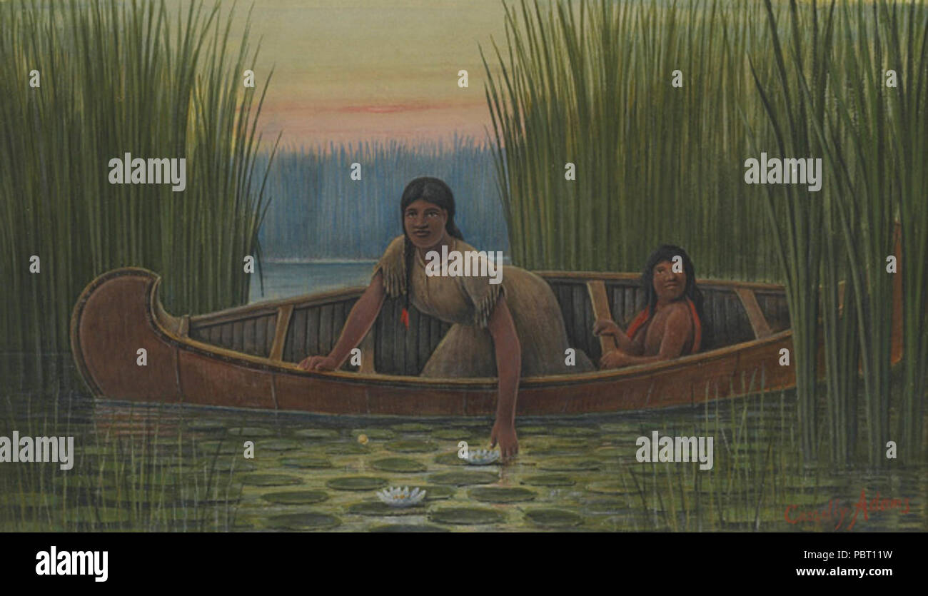 Adams Cassilly - Indian Mother and Child in a Canoe. - Stock Image