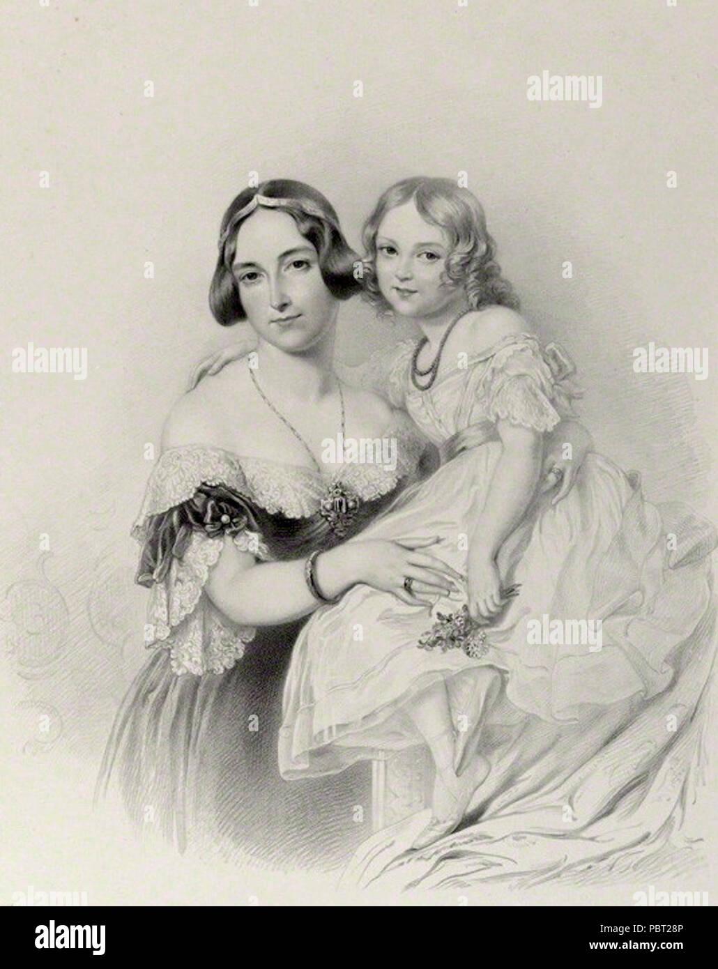 Adelheid of Hohenlohe-Langenburg. by Richard James Lane, after  Sir George Hayter, lithograph, 1841 - Stock Image