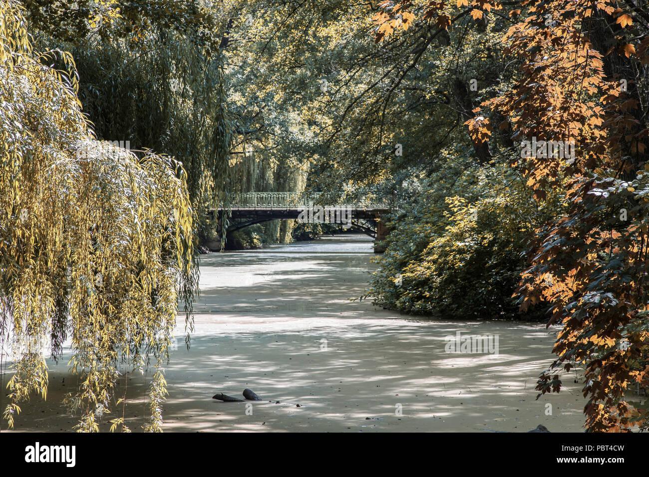 Bridge across a small river, Tiergarten, Berlin, Germany Stock Photo
