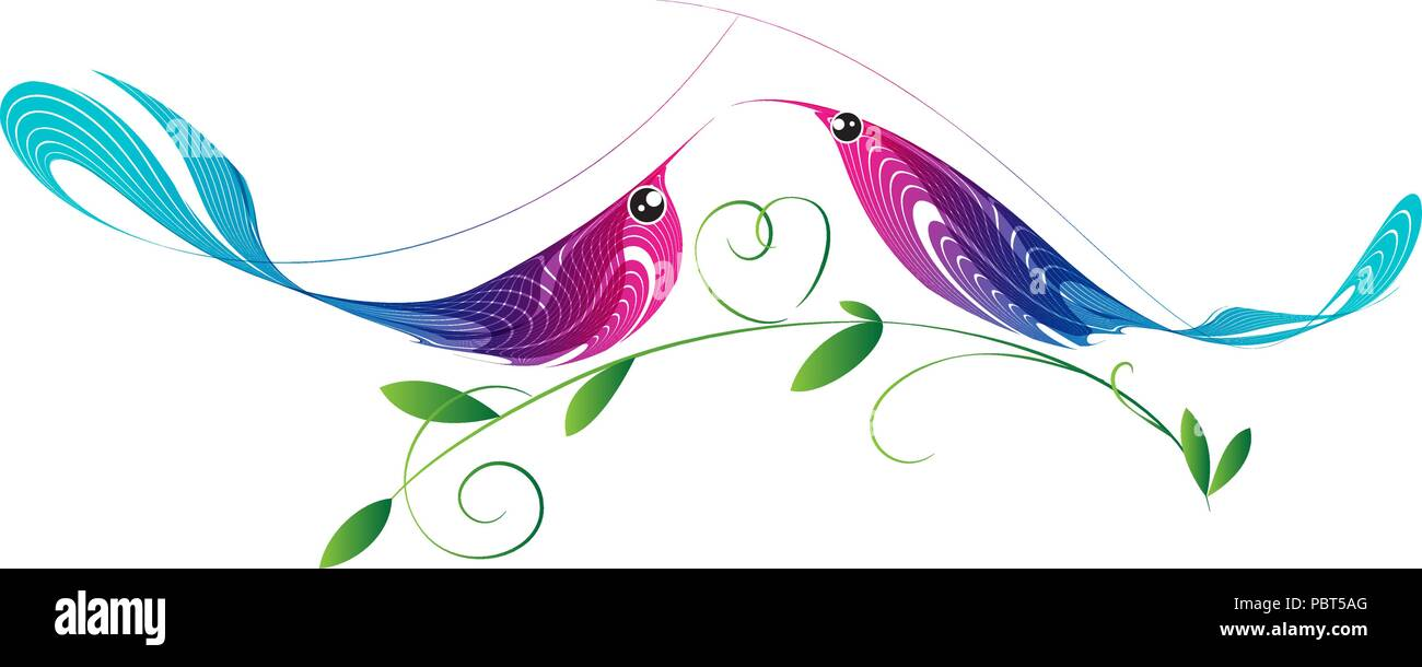Couple of birds, colorful composition - Stock Vector