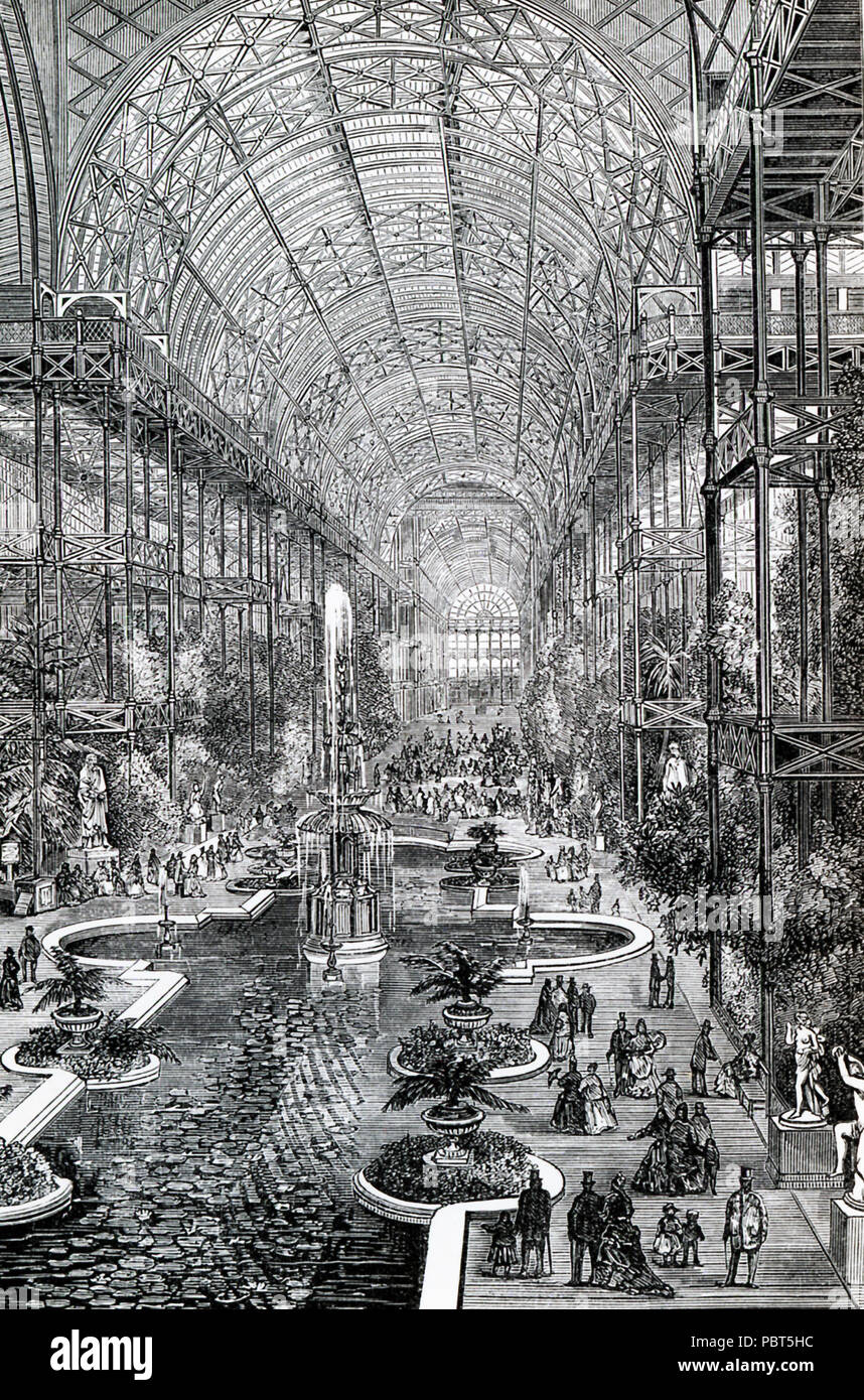 This illustration dates to the 1870s and shows the Crystal Palace at Sydenham Hill, a wealthy suburb in the area of London. It was an enormous glass and iron structure that was built in 1851 for the Great Exhibition held in 1851 in Hyde Park in London. The Exhibition was Prince Albert's idea to showcase the industrial achievements of Great Britain. Other countries, including the United States, Russia, and Egypt exhibited as well.  The Crystal Palace was designed by Sir Joseph Paxton. Shown here is the interior of the high, barre-vaulted transept thatran across the center of the building. It wa - Stock Image