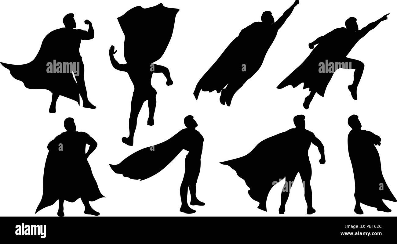 super hero silhouette set - Stock Image