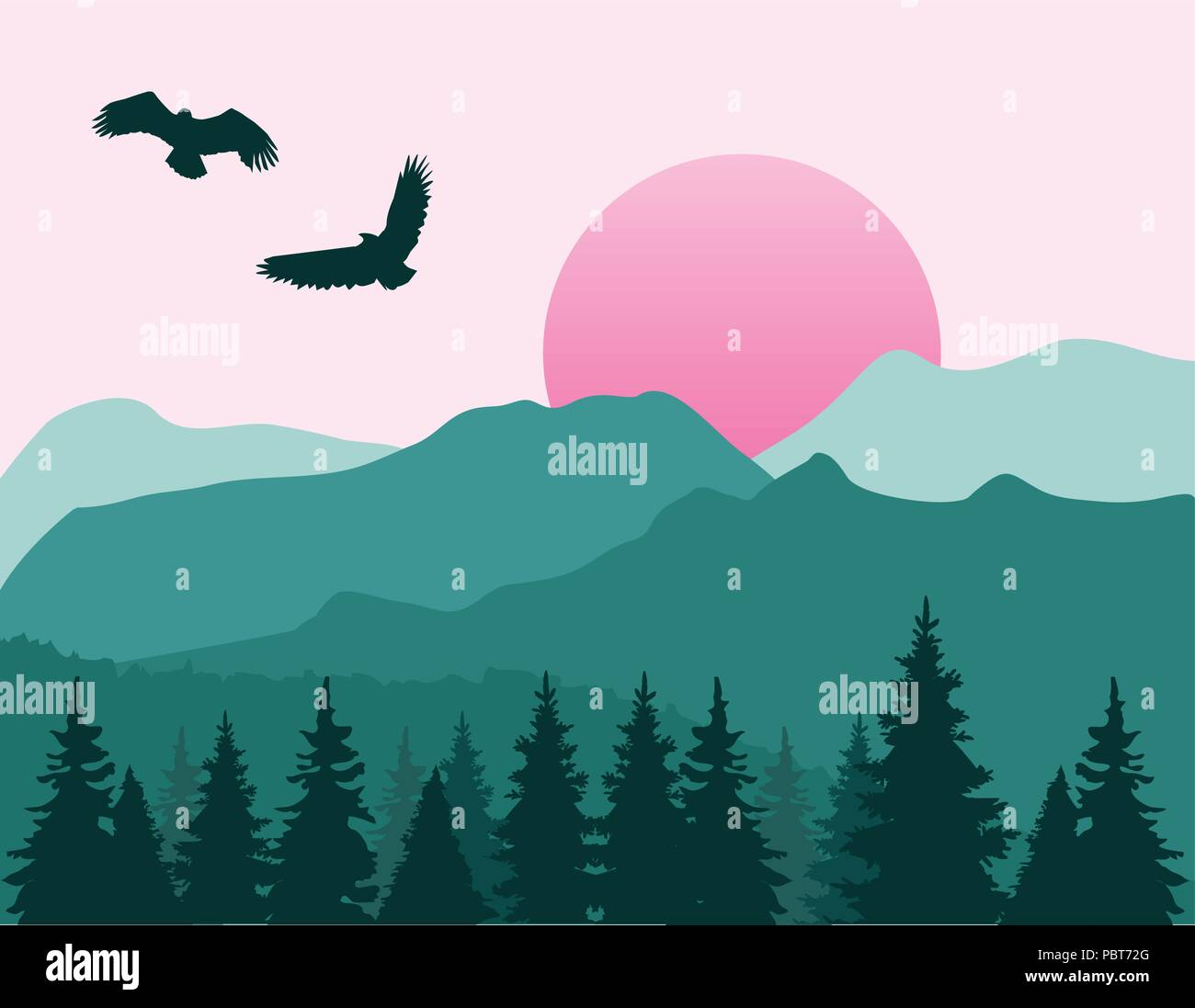 Vector Illustration Of Mountain Landscape Flat Nature Design Stock Vector Image Art Alamy,Pink Baby Shower Nail Designs
