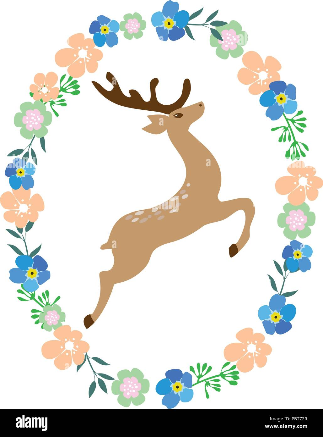 vector illustration of a deer in floral frame Stock Vector Art ...