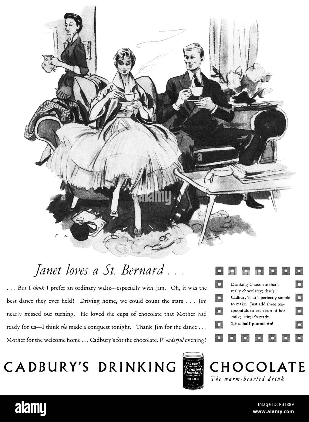 1954 British advertisement for Cadbury's drinking chocolate, illustrated by Francis Marshall. - Stock Image