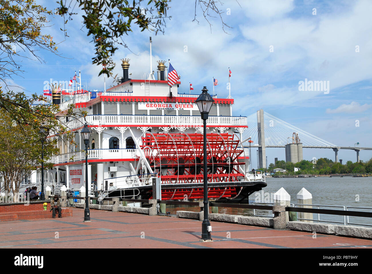 Savannah, Georgia. Georgia Queen cruise ship docked in Savannah river front. Stock Photo