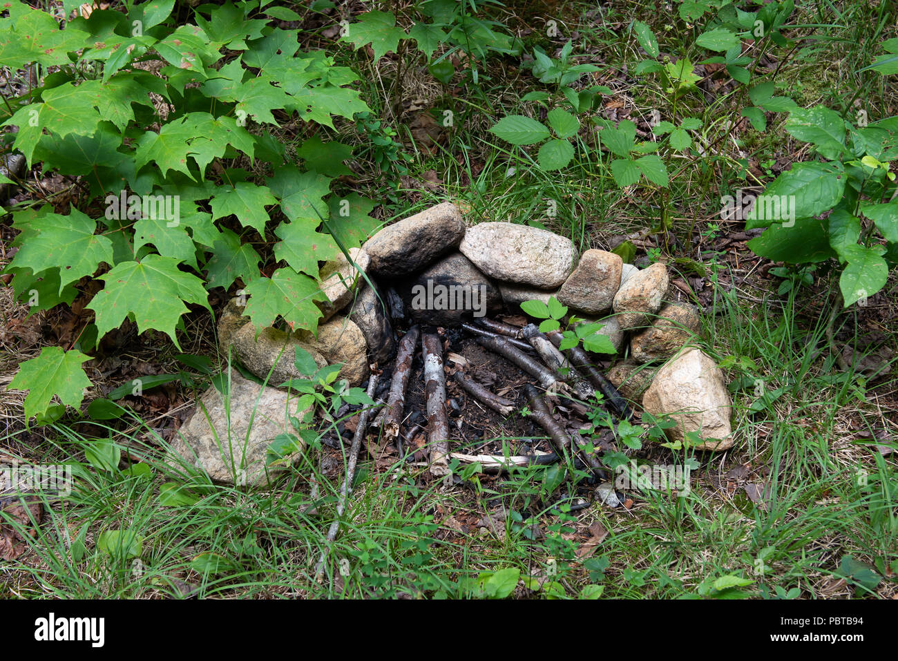 A small primitive rock fire place along a trail in the Adirondack forest, NY USA. - Stock Image