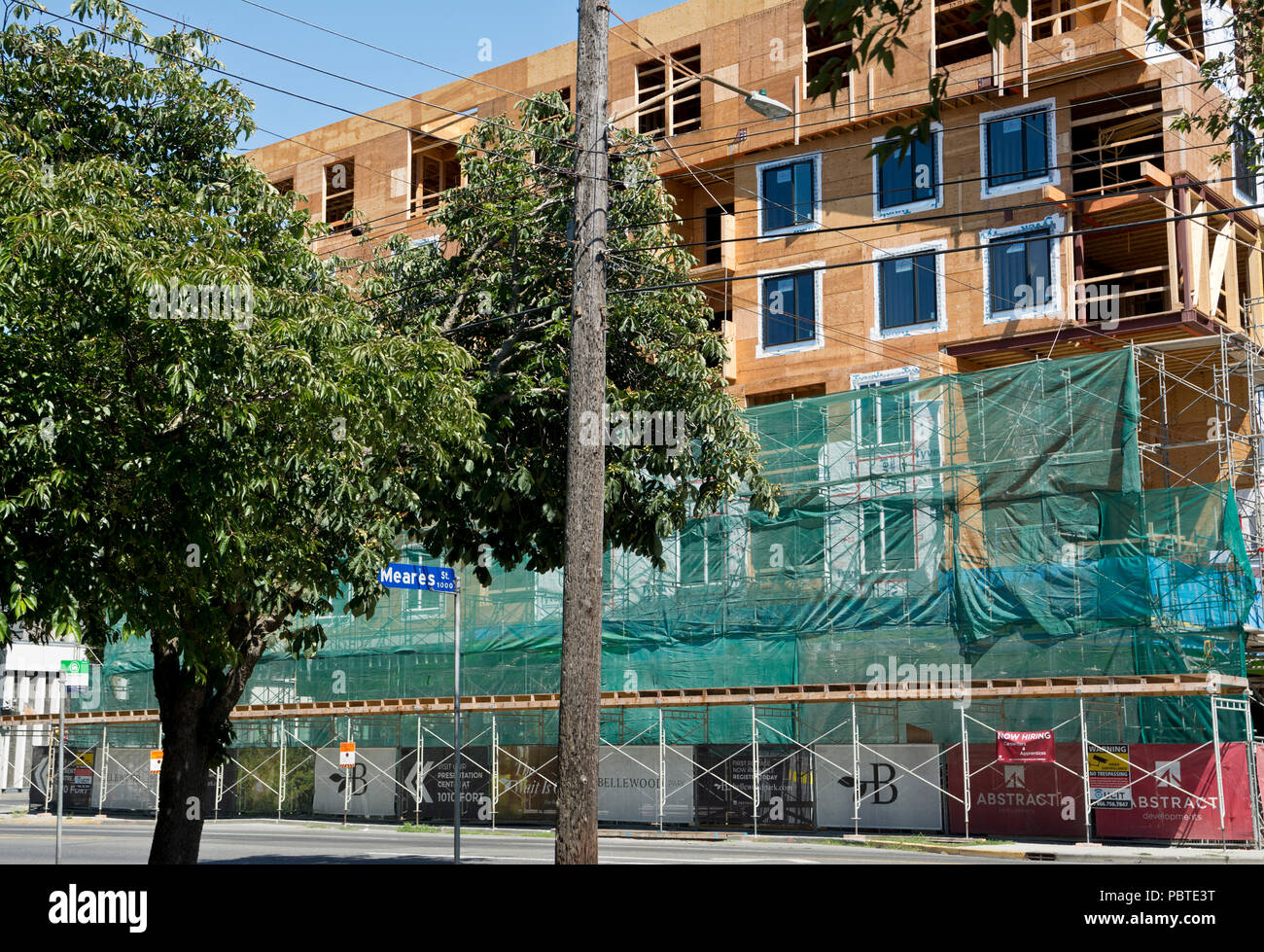 Condo development in Victoria, BC, Canada.  Apartments flats under construction. - Stock Image