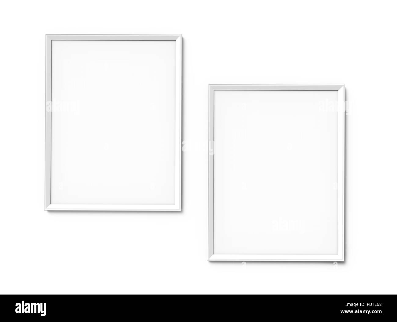 White photo frames with blank copy space hanging on wall in 3d ...