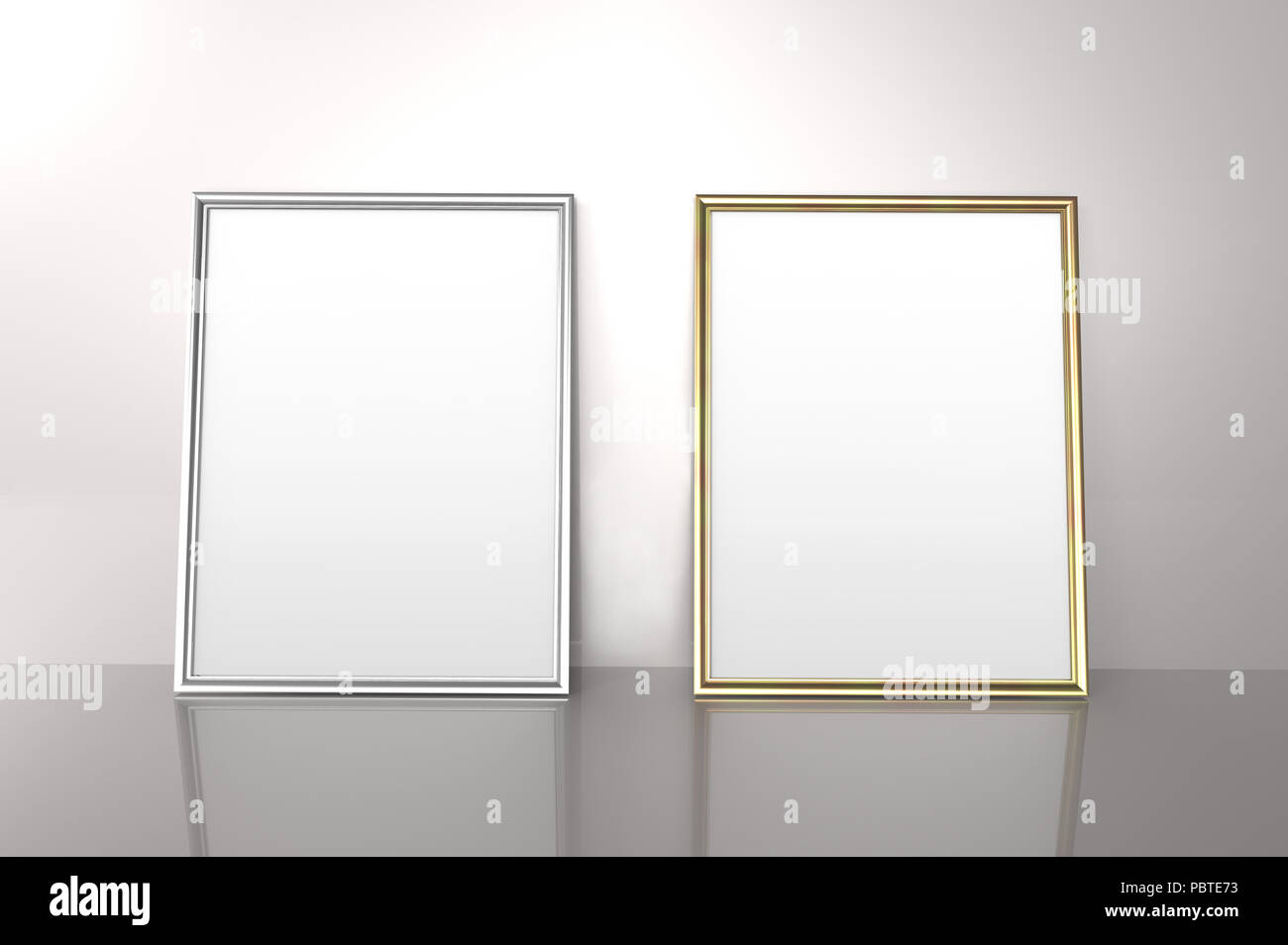 Glossy golden and silver color photo frames with blank copy space ...