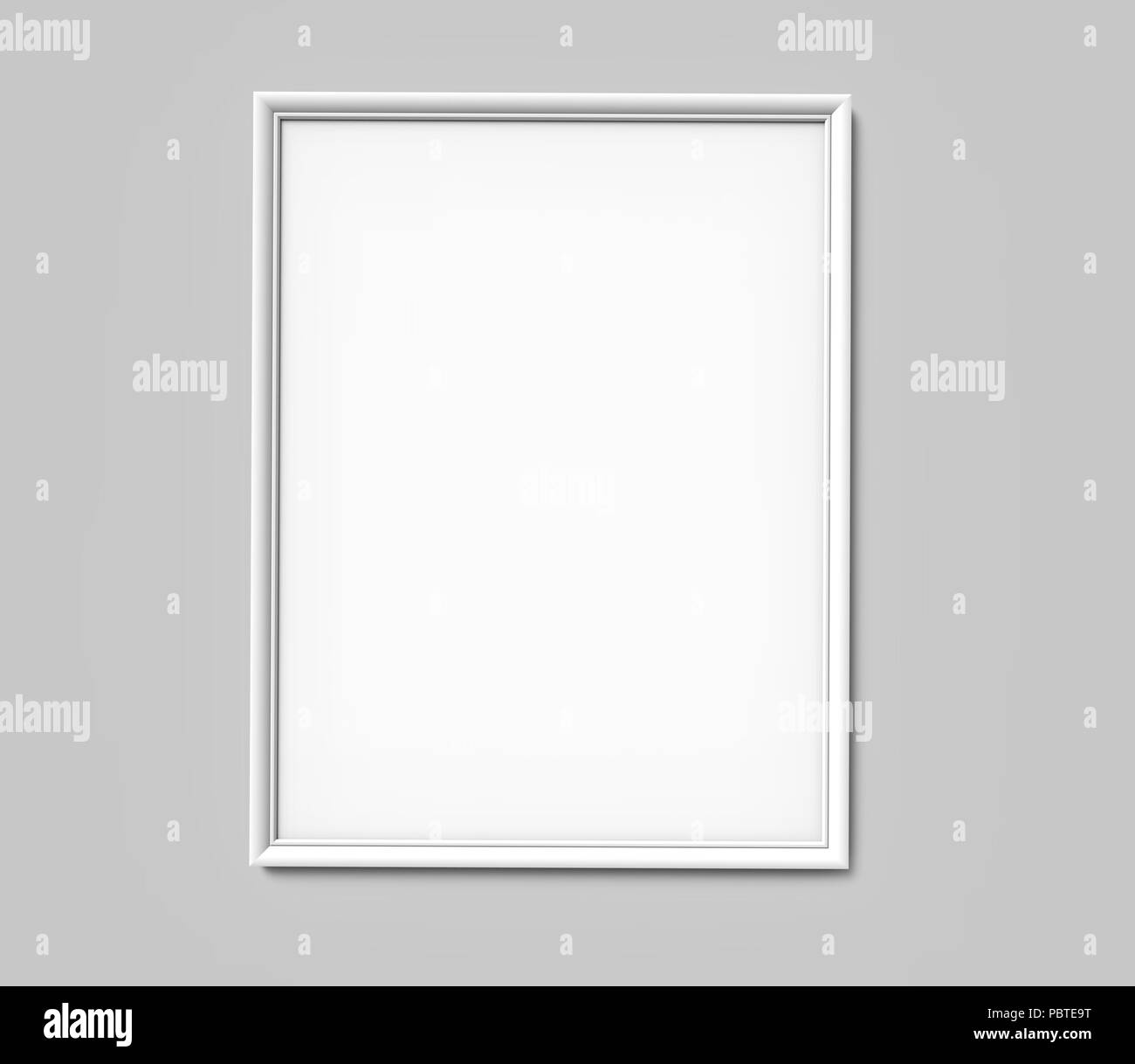 White photo frame with blank copy space hanging on grey wall in 3d ...