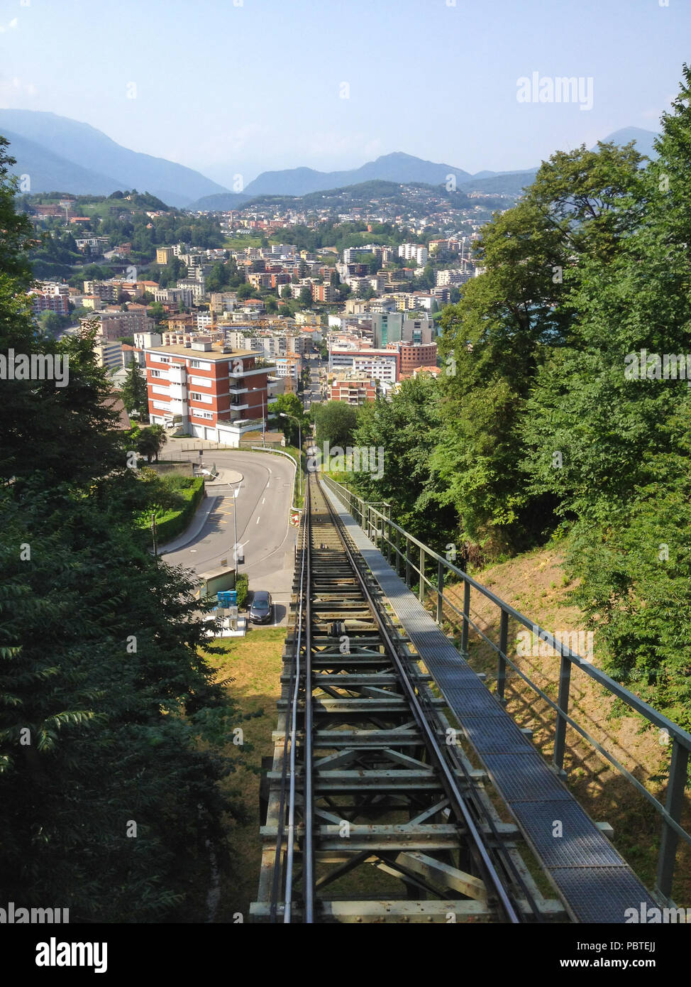 Funicular Transportation from Paradiso to top of Monte San Salvatore, Lugano, Switzerland Stock Photo