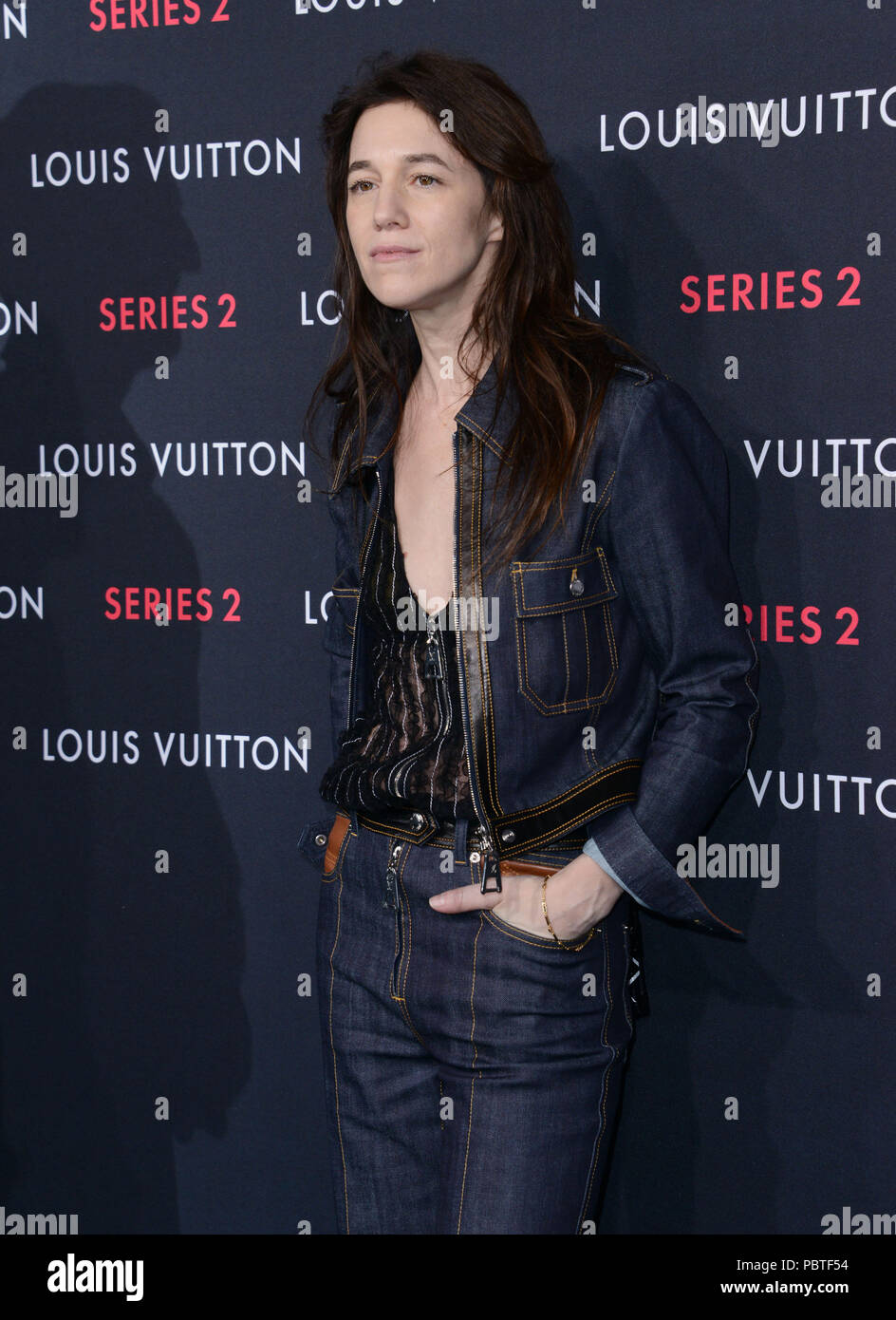 Charlotte Gainsbourg 028 at  the Louis Vuitton Series 2 exhibition  at 1135 north Highland in Los Angeles.  February 5, 2015Charlotte Gainsbourg 028 ------------- Red Carpet Event, Vertical, USA, Film Industry, Celebrities,  Photography, Bestof, Arts Culture and Entertainment, Topix Celebrities fashion /  Vertical, Best of, Event in Hollywood Life - California,  Red Carpet and backstage, USA, Film Industry, Celebrities,  movie celebrities, TV celebrities, Music celebrities, Photography, Bestof, Arts Culture and Entertainment,  Topix, Three Quarters, vertical, one person,, from the year , 2015, - Stock Image