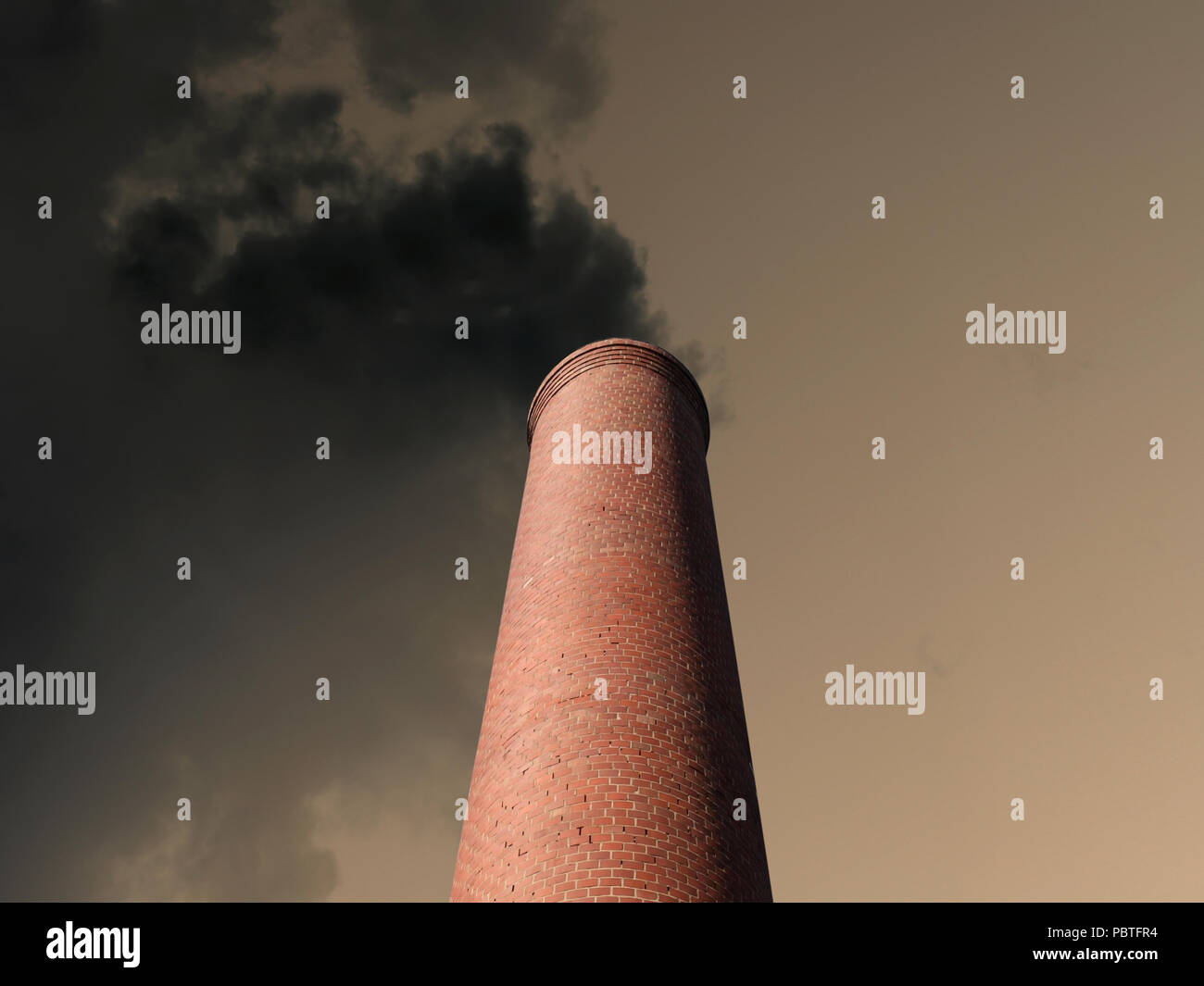 Billowing brick smokestack pouring pollution into a dark stormy sky. Stock Photo