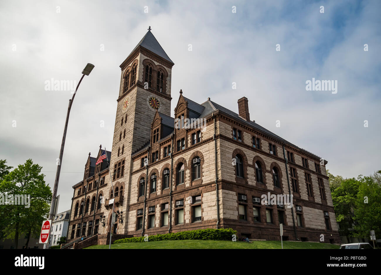 City Hall, at Central Square, in Cambridge, Boston Massachusetts. - Stock Image