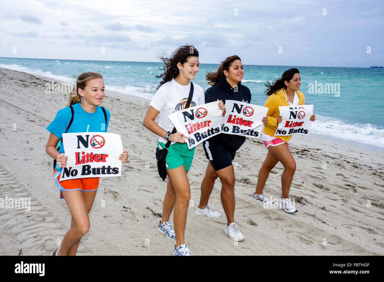 Miami Beach Florida Atlantic Ocean anti-litter anti litter demonstration community neighborhood initiative environment pollution - Stock Image
