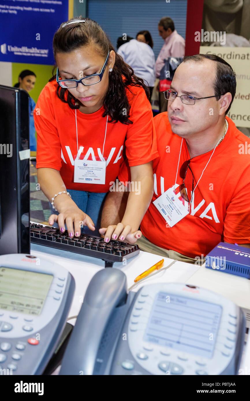 Miami Beach Miami Florida Beach Convention Center Hispanic Heritage Month Expo demographic exhibitors exhibits Avaya IP Telephon - Stock Image