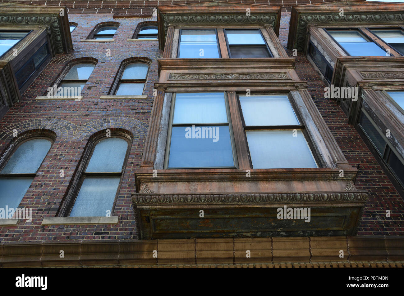 Close up of historic building on Merchant Street in downtown Decatur Illinois. - Stock Image
