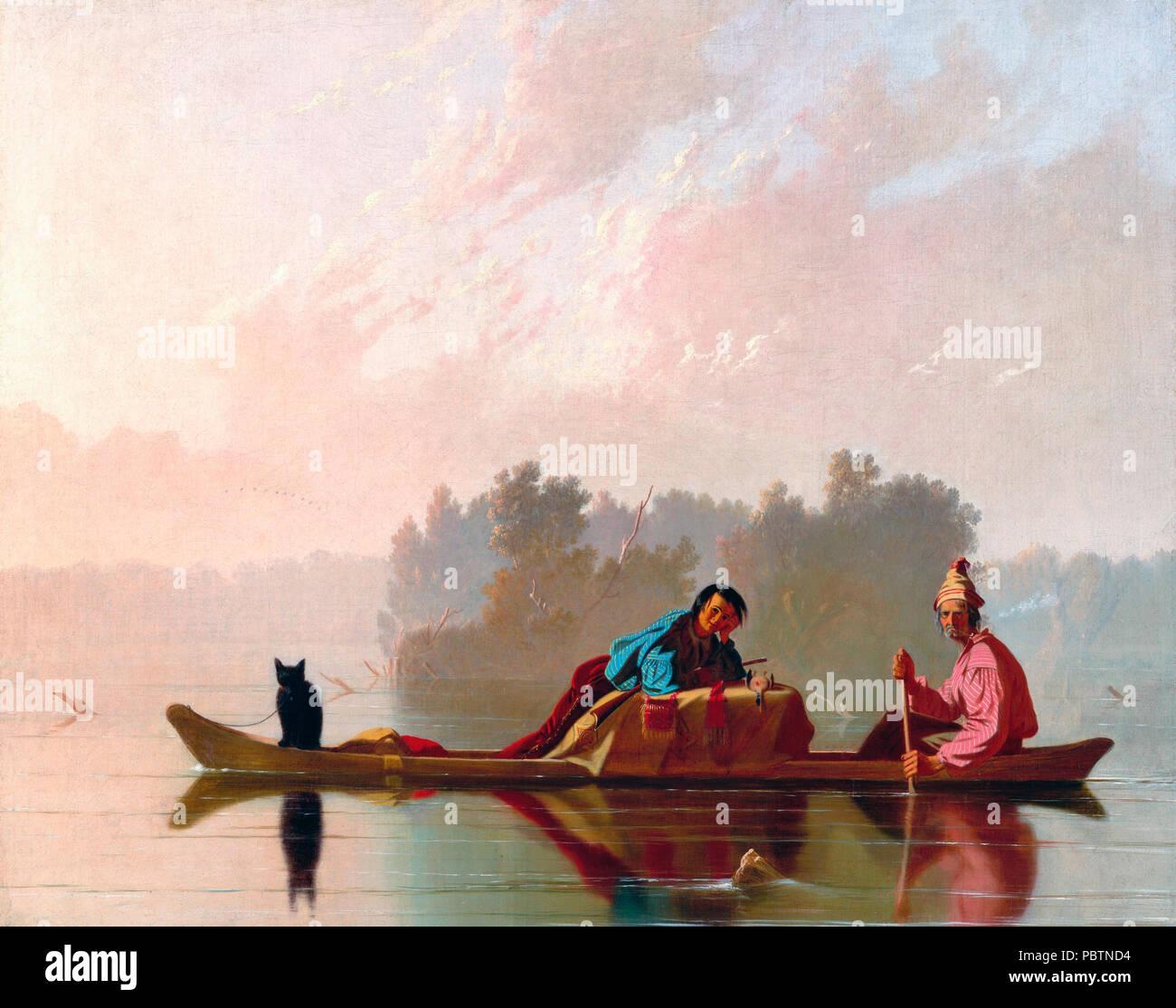 Fur dealers on the Missouri - George Caleb Bingham, circa 1845 - Stock Image