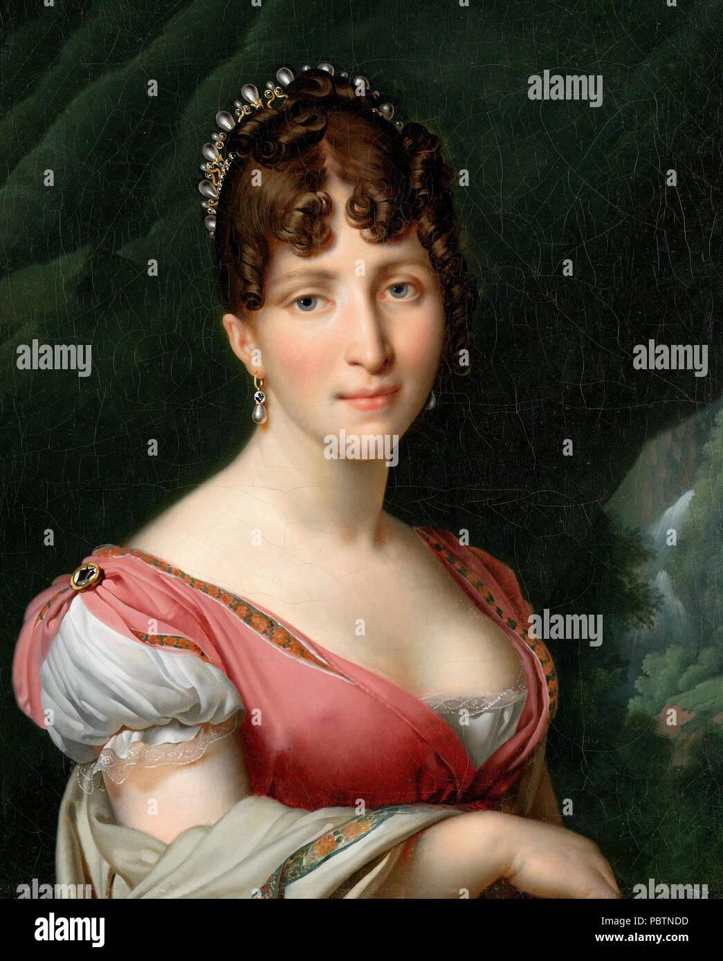 Portrait of Hortense de Beauharnais, Queen of Holland, wife of King Louis Napoleon. Anne-Louis Girodet de Roussy-Trioson, circa 1805 Stock Photo
