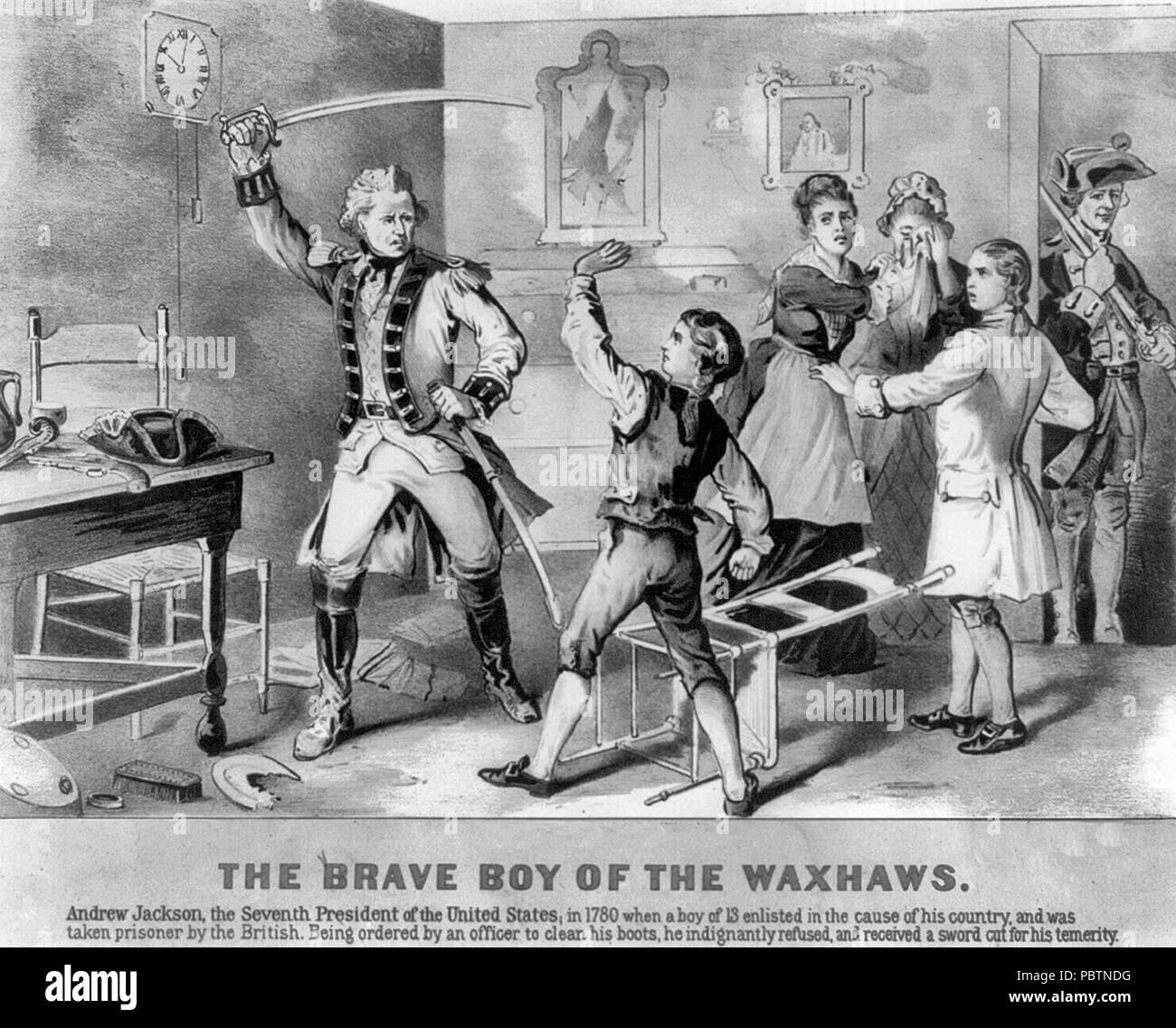 'The Brave Boy of the Waxhaws'. Depicts incident in the childhood of Andrew Jackson, showing the lad standing up to British soldier. As depicted a century later in an 1876 lithograph. - Stock Image