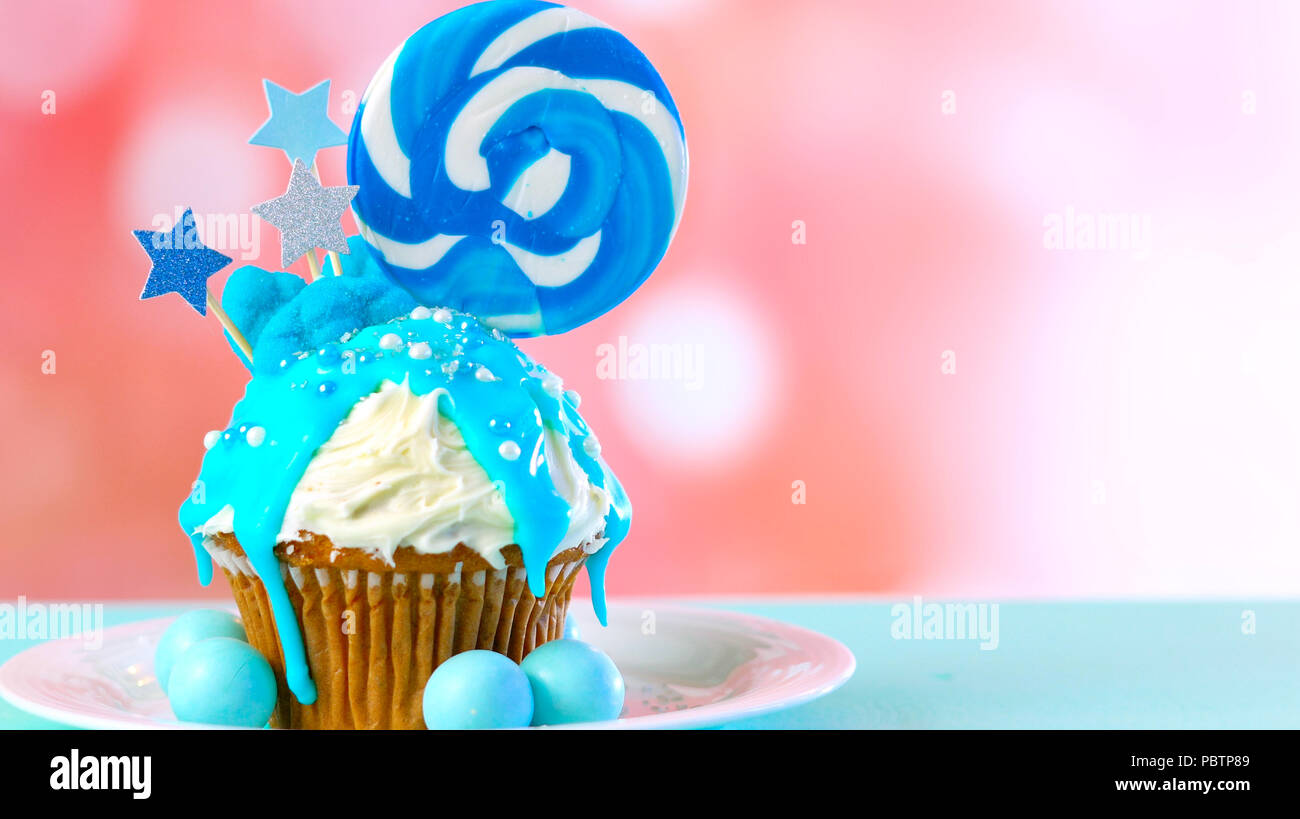 Blue Theme Colorful Novelty Cupcake Decorated With Candy And Large