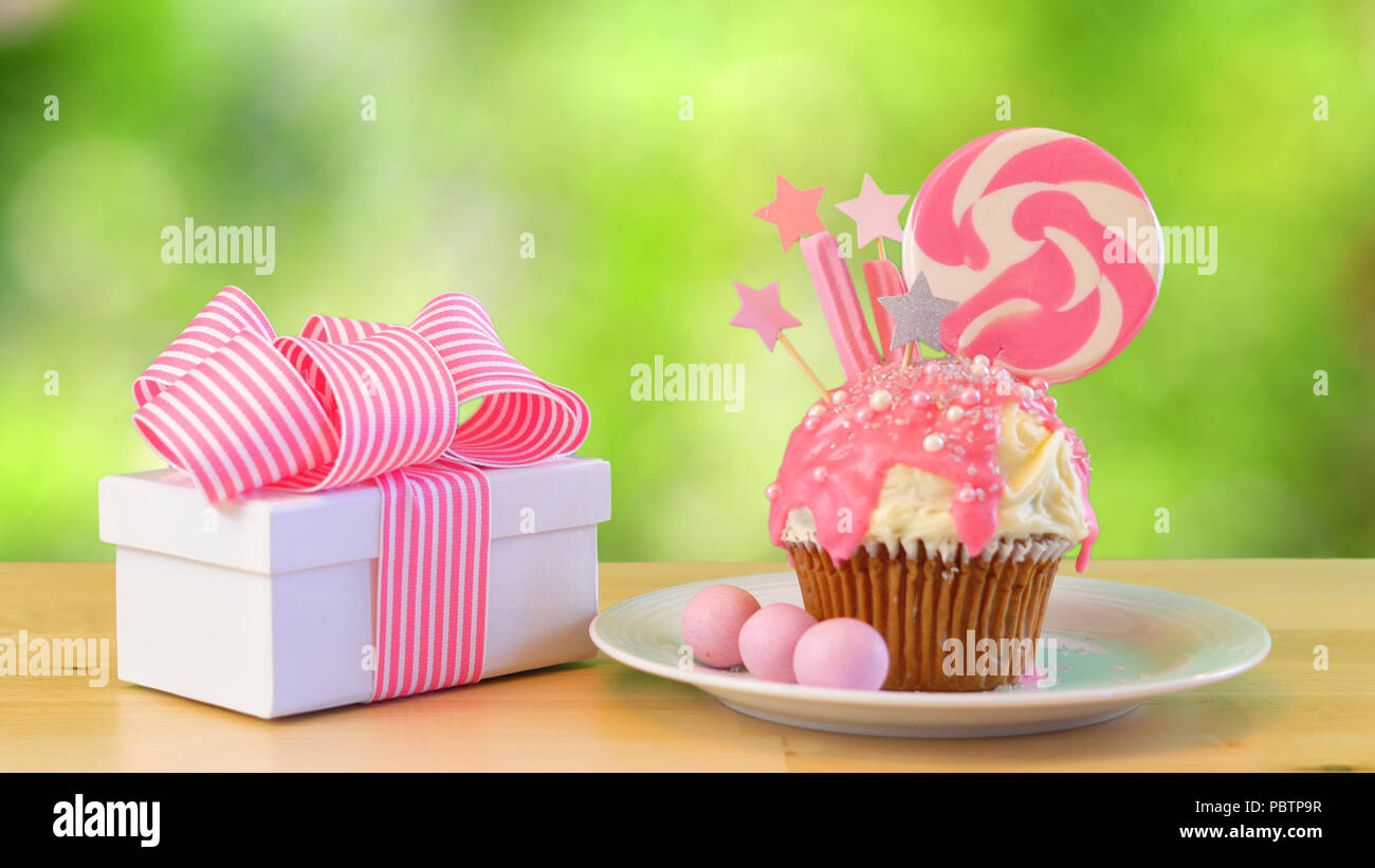 Pink Theme Colorful Novelty Cupcake Decorated With Candy And Large