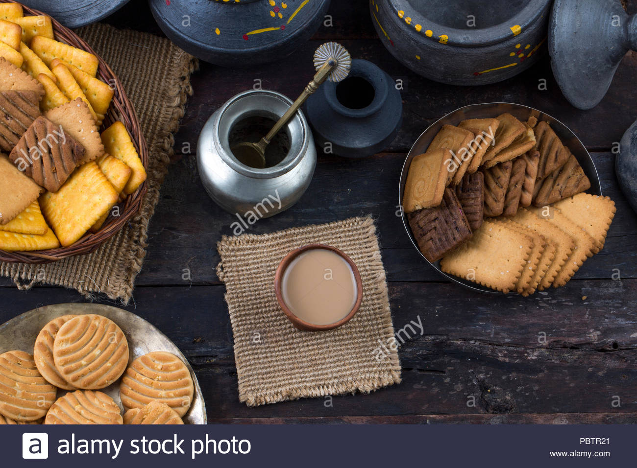 Tea with cookies or biscuits - Stock Image