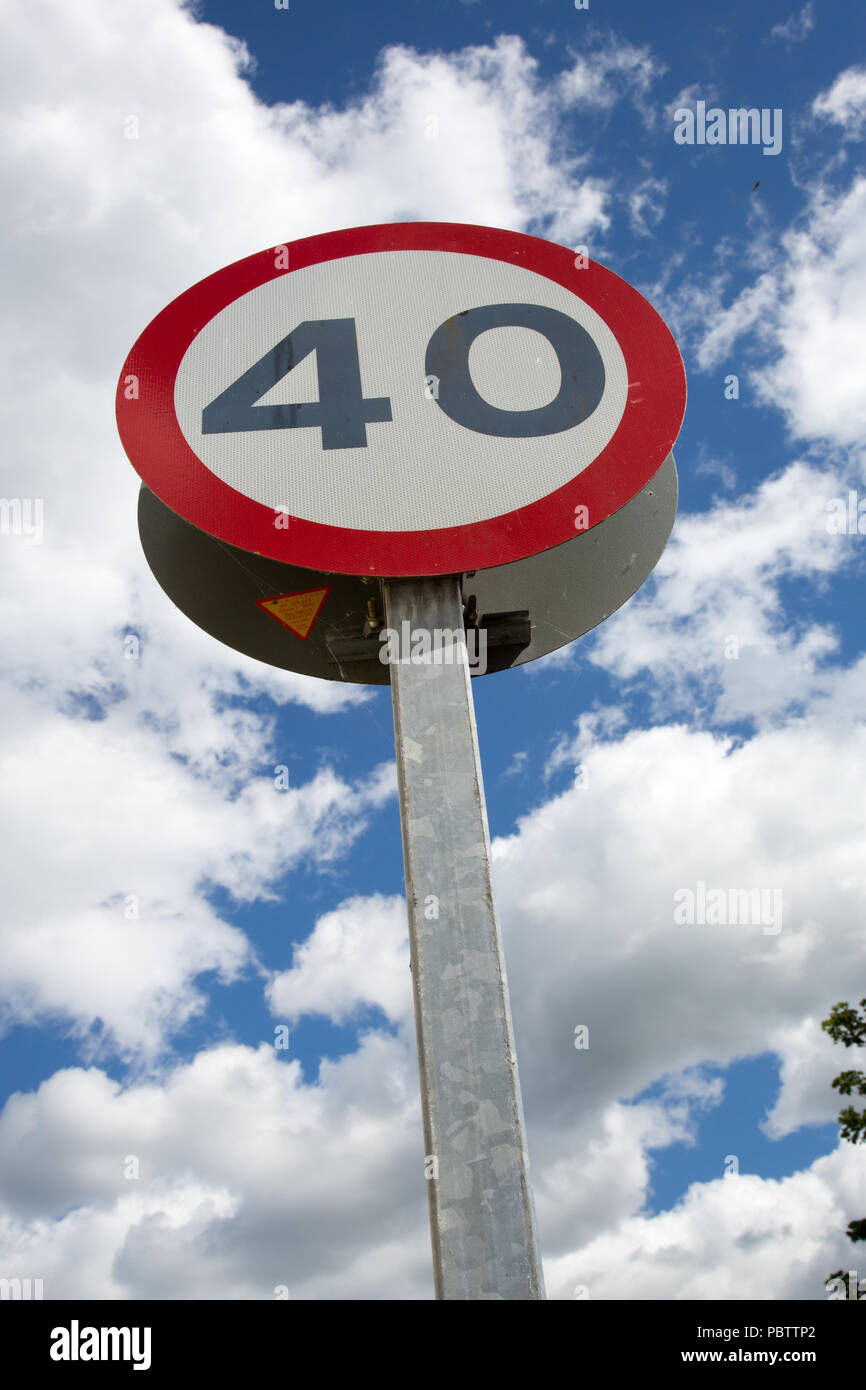 English/British instructional speed limit road sign. - Stock Image