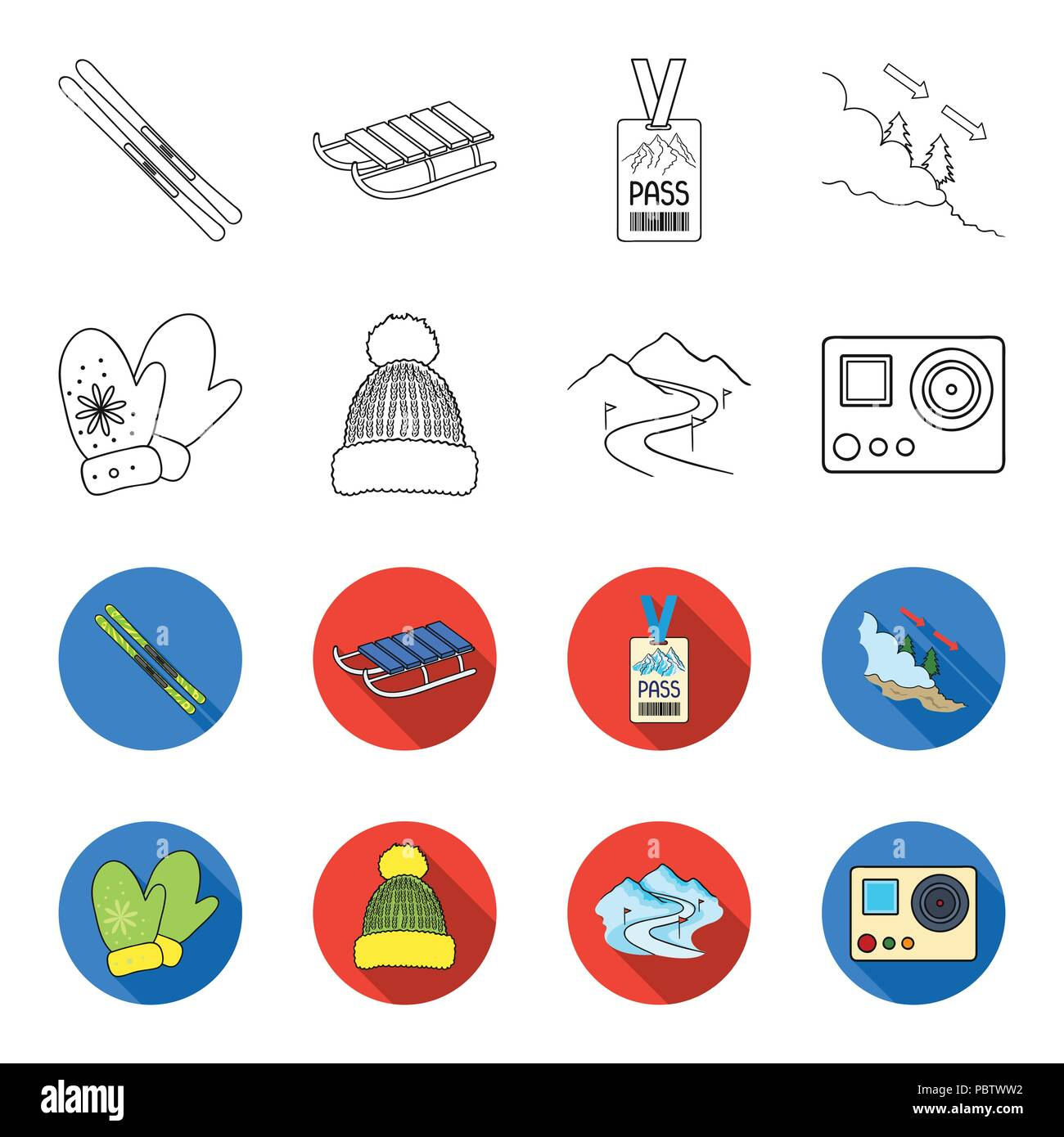 Mittens, warm hat, ski piste, motion camera. Ski resort set collection icons in outline,flet style vector symbol stock illustration . - Stock Image