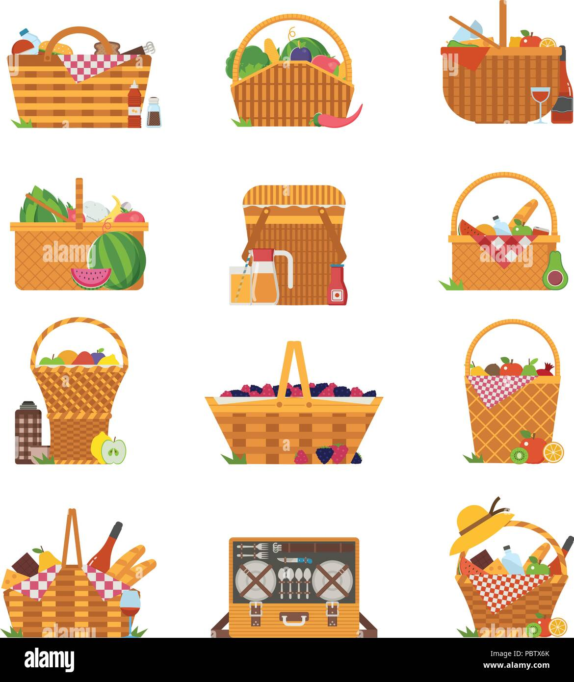 Wicker Picnic Baskets and Hampers Icons - Stock Vector
