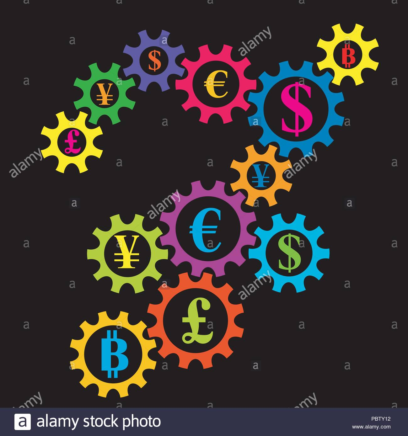 bb62ce64382d Abstract gearing with currency coins colorful background. International  financial market interconnection concept