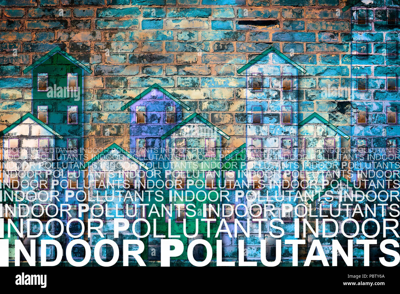 Indoor air pollutants against a buildings background - concetp image with copy space - Stock Image