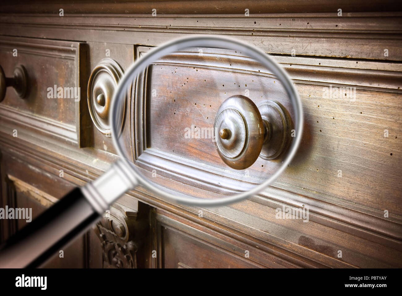 Detail of an antique wooden italian furniture just restored with a  magnifying glass on foreground looking - Woodworm Stock Photos & Woodworm Stock Images - Alamy