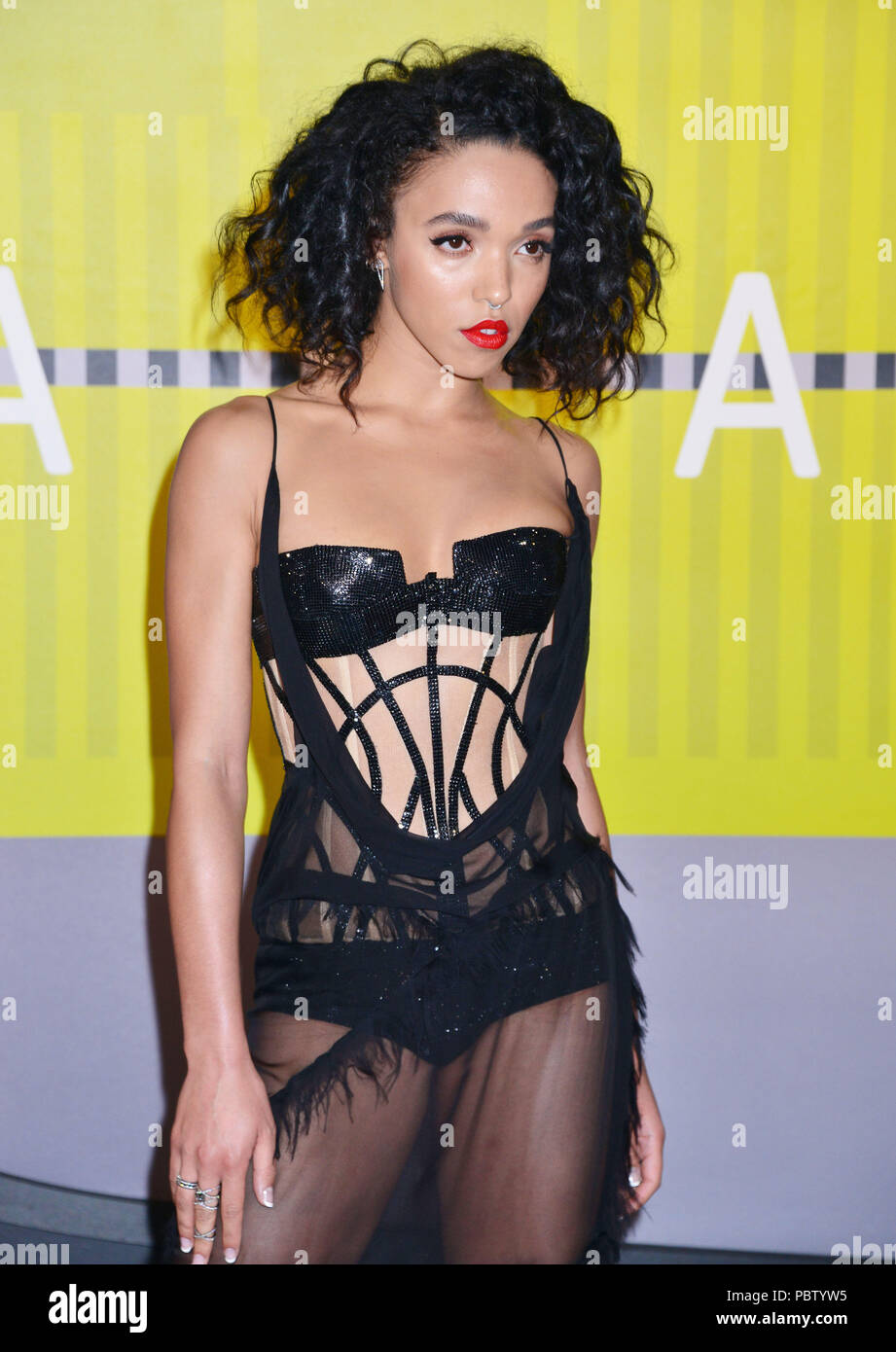 FKA Twigs 407  at the MTV VMA Awards 2015 at the Microsoft Theatre in Los Angeles. August 30, 2015.FKA Twigs 407 ------------- Red Carpet Event, Vertical, USA, Film Industry, Celebrities,  Photography, Bestof, Arts Culture and Entertainment, Topix Celebrities fashion /  Vertical, Best of, Event in Hollywood Life - California,  Red Carpet and backstage, USA, Film Industry, Celebrities,  movie celebrities, TV celebrities, Music celebrities, Photography, Bestof, Arts Culture and Entertainment,  Topix, Three Quarters, vertical, one person,, from the year , 2015, inquiry tsuni@Gamma-USA.com - Stock Image