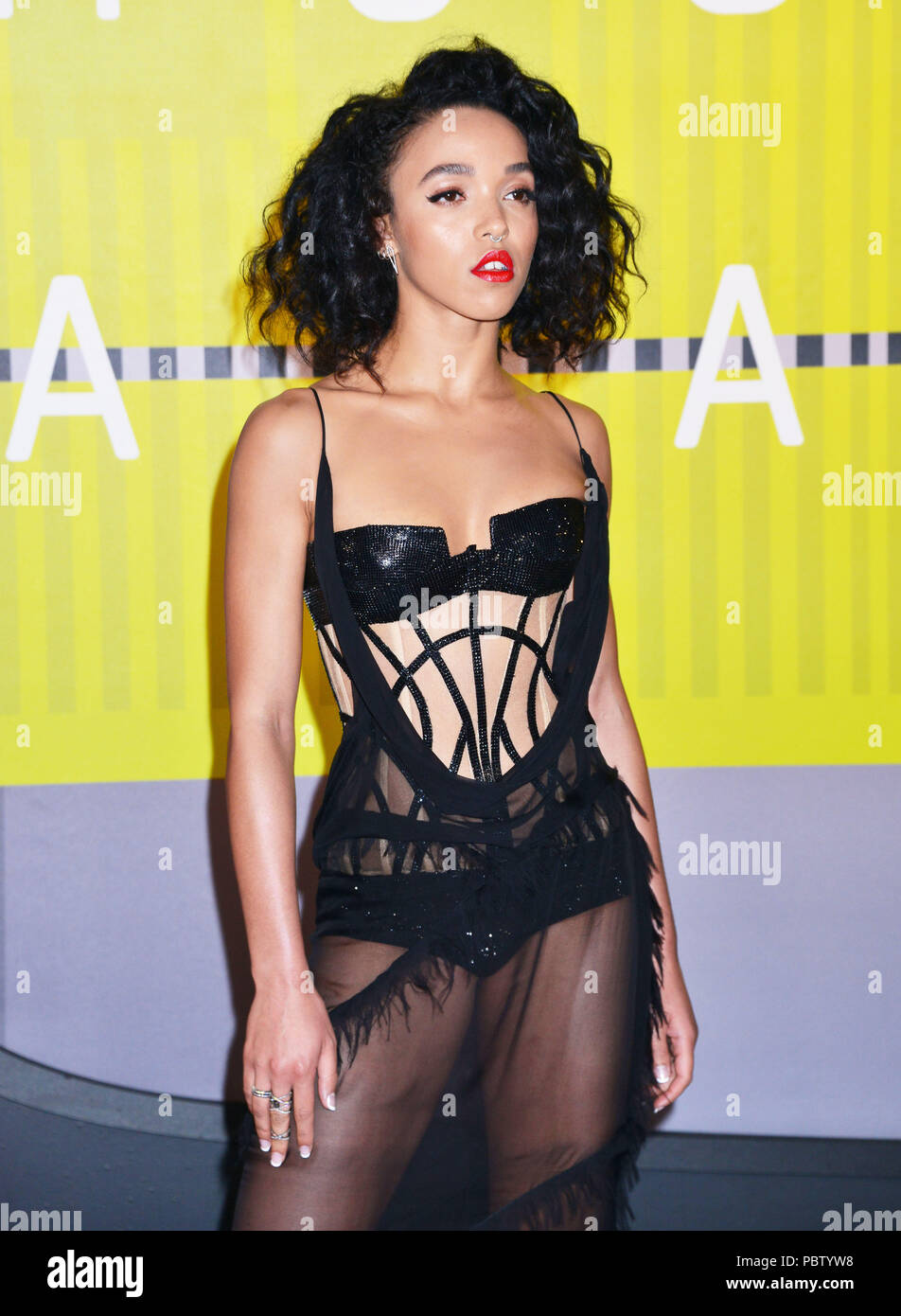 FKA Twigs 408  at the MTV VMA Awards 2015 at the Microsoft Theatre in Los Angeles. August 30, 2015.FKA Twigs 408 ------------- Red Carpet Event, Vertical, USA, Film Industry, Celebrities,  Photography, Bestof, Arts Culture and Entertainment, Topix Celebrities fashion /  Vertical, Best of, Event in Hollywood Life - California,  Red Carpet and backstage, USA, Film Industry, Celebrities,  movie celebrities, TV celebrities, Music celebrities, Photography, Bestof, Arts Culture and Entertainment,  Topix, Three Quarters, vertical, one person,, from the year , 2015, inquiry tsuni@Gamma-USA.com - Stock Image