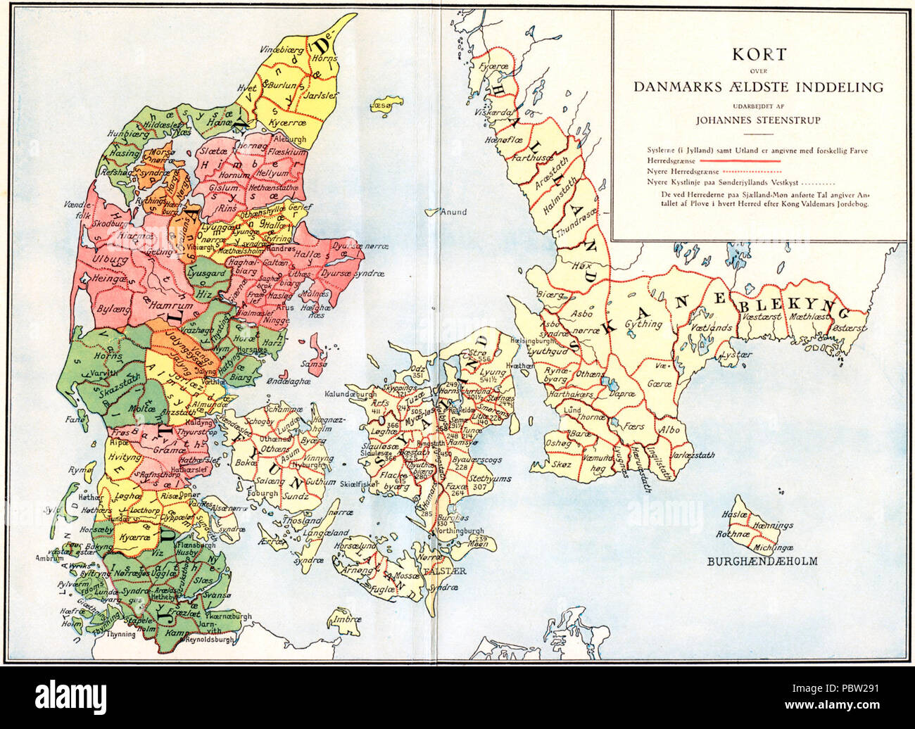 Administrative division of denmark in medieval times. - Stock Image