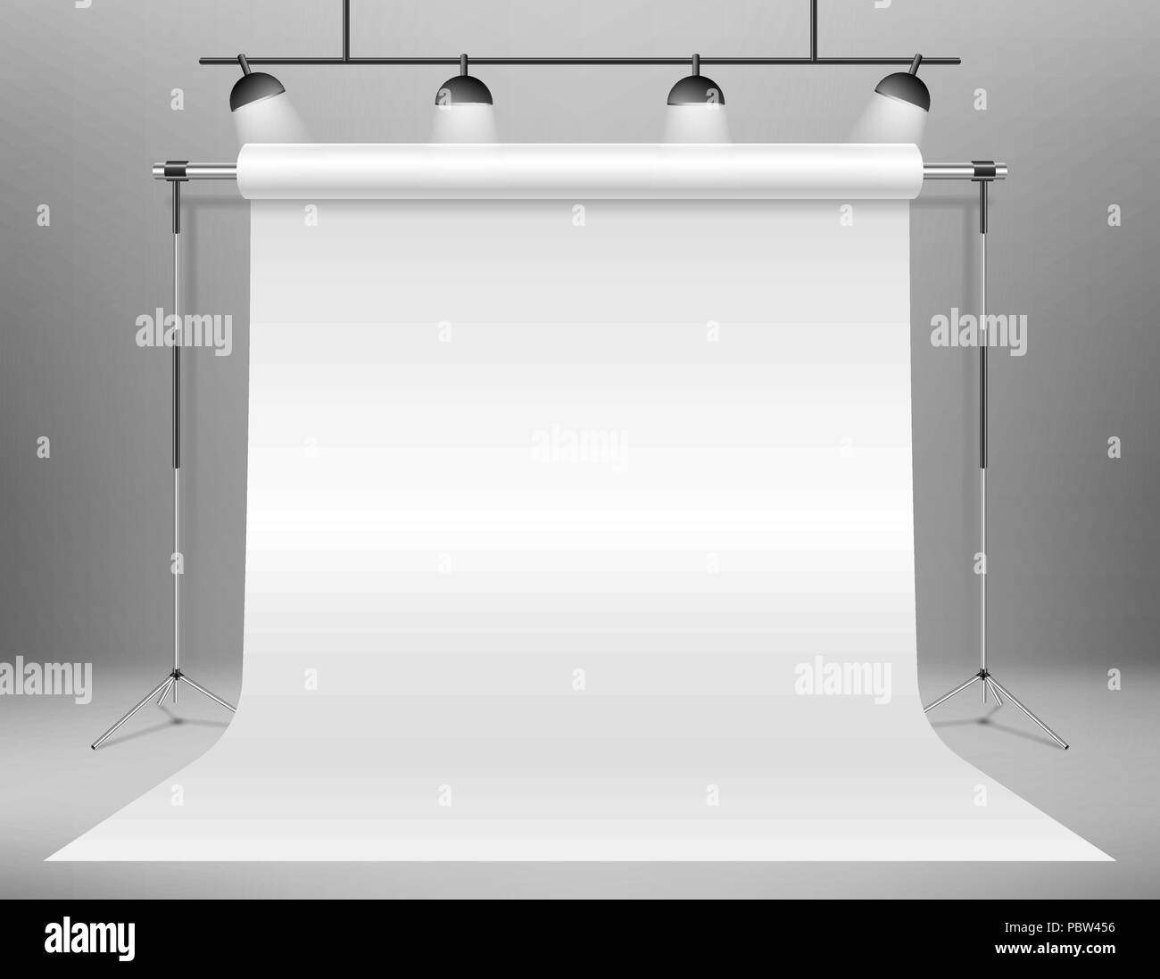 Realistic empty white photo studio backdrop template. photographer studio backdrop stand with Spotlights. Vector illustration. - Stock Vector