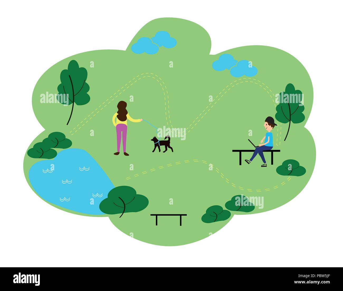 People who enjoy leisure time in the park, flat design style vector graphic illustration set. Public park concept banner with characters. Can use for web banner, infographics, hero images - Stock Vector