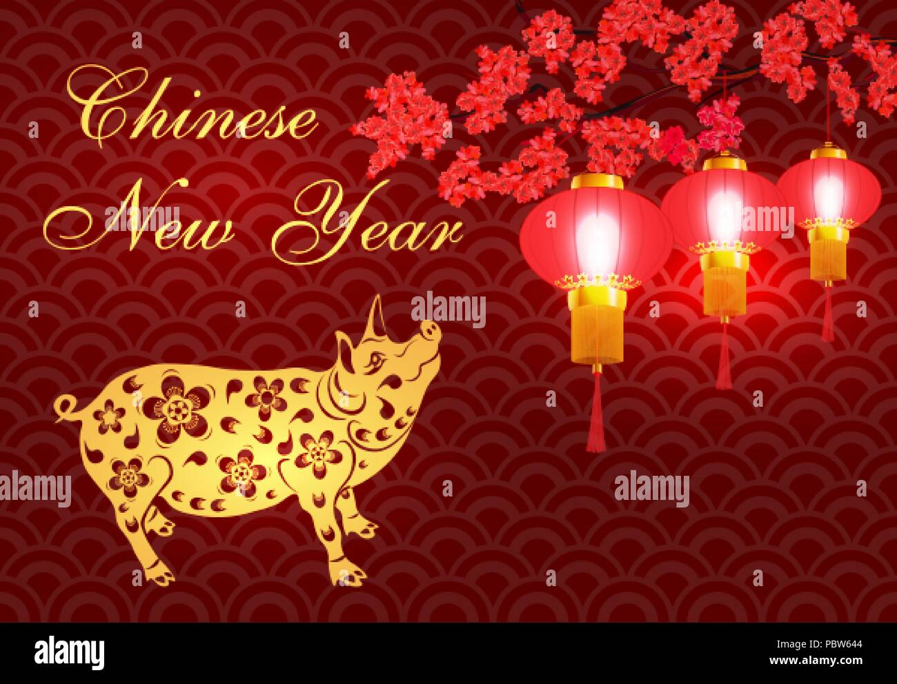 greeting card chinese new year pig brings prosperity and good luck stylized illustrator