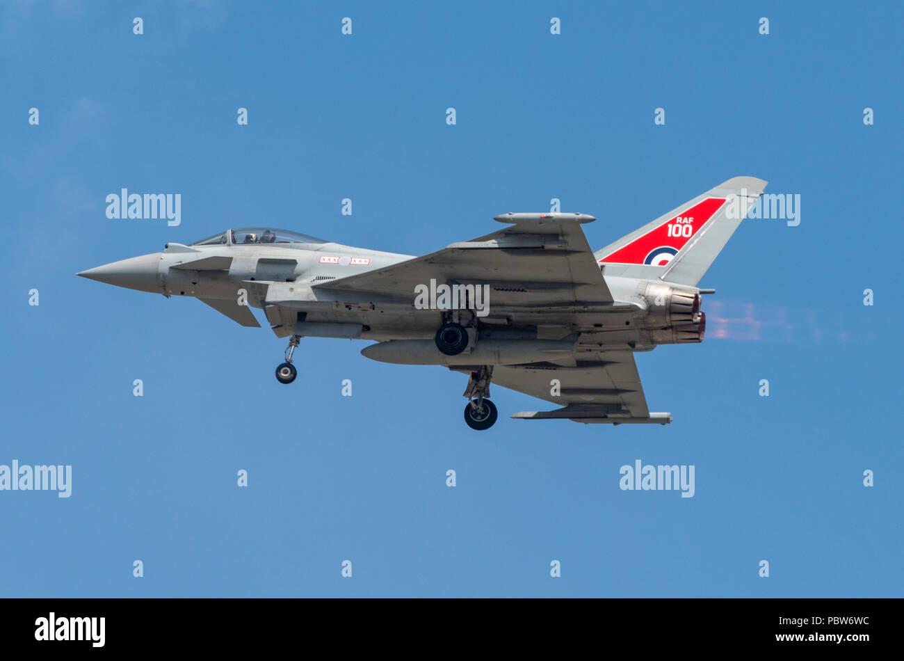 Eurofighter fyphoon canard-delta wing multirole fighter aircraft Jagdflugzeug GmbH manufacturer. - Stock Image