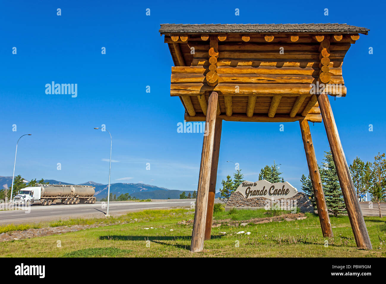 The town sign in Grande Cache Canada - Stock Image