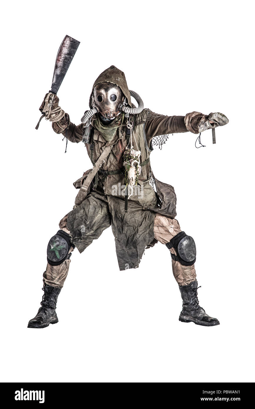 Post apocalyptic human threatening with cane knife - Stock Image