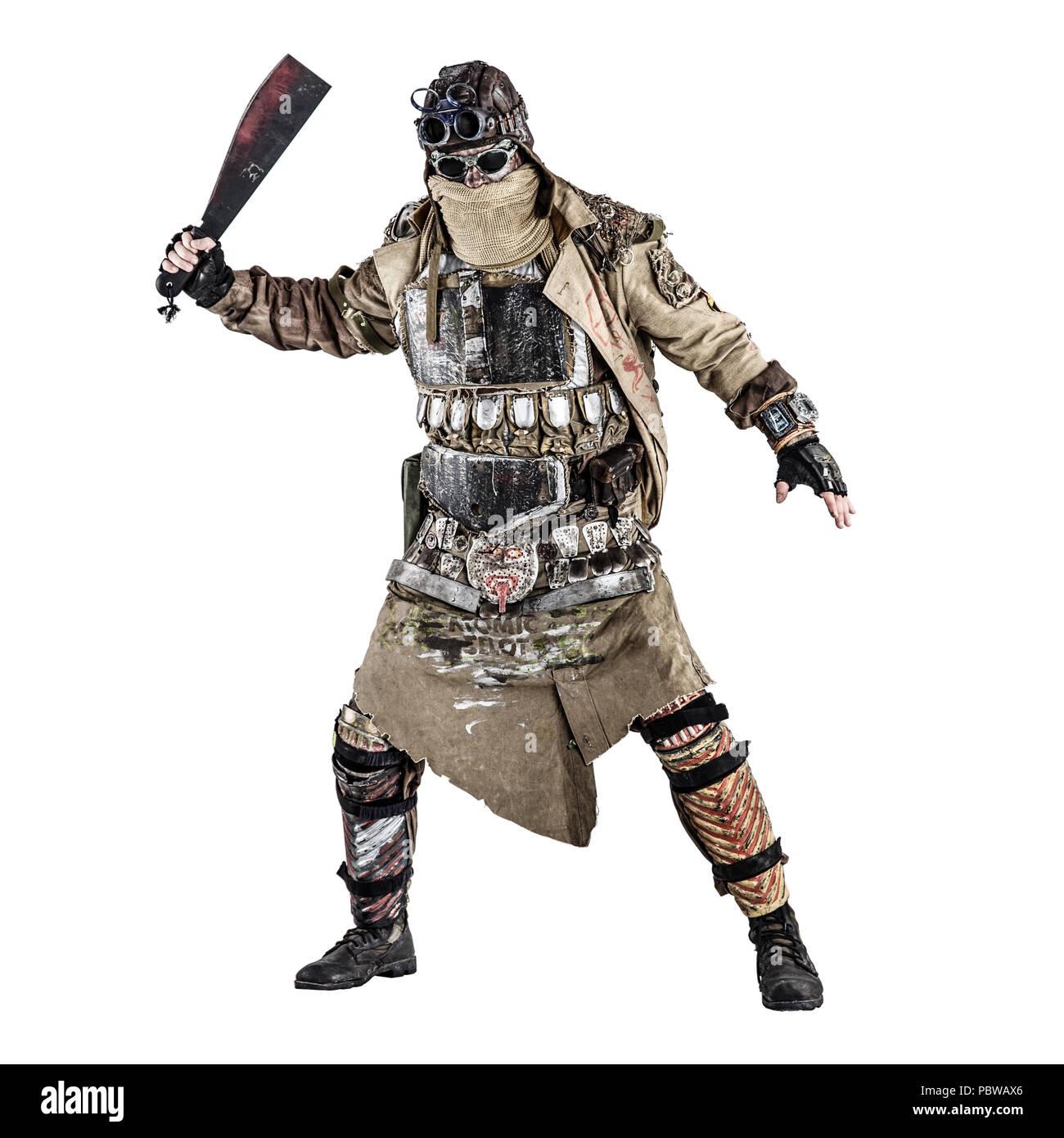 Terrifying post apocalyptic creature with machete - Stock Image