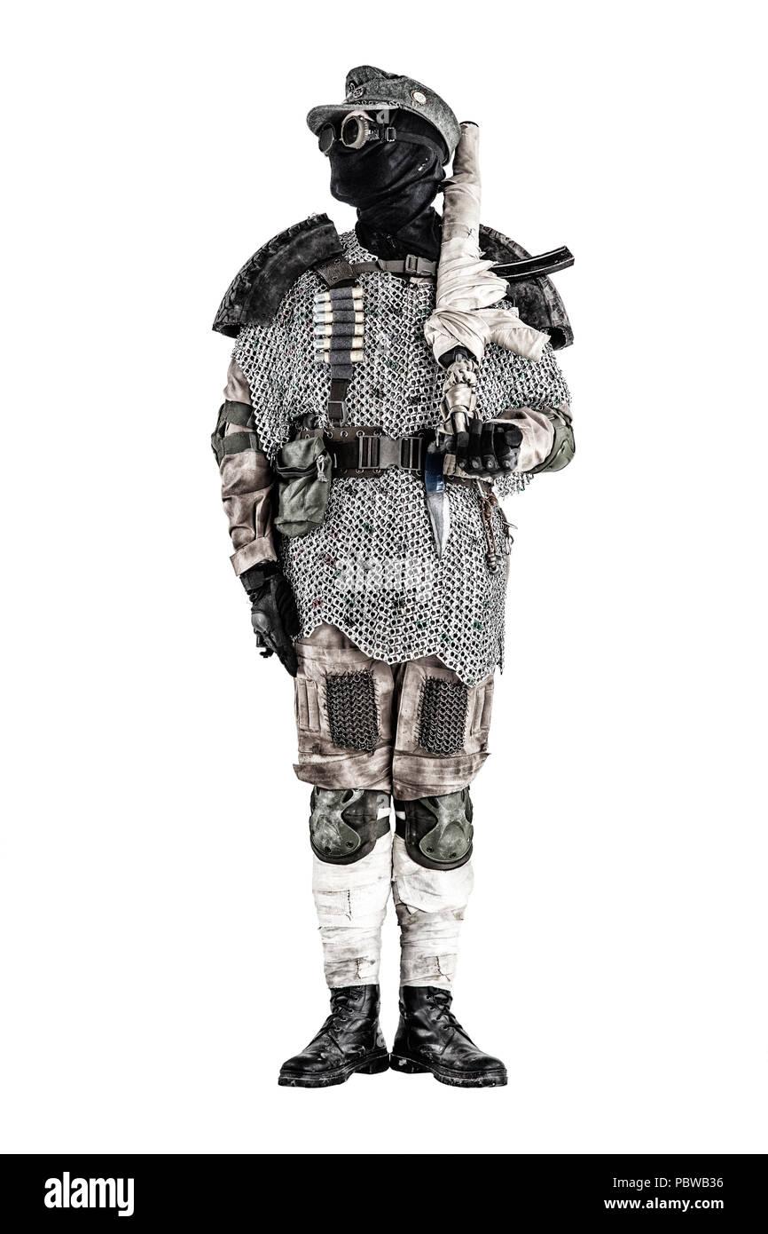 Post apocalyptic warrior with handmade firearm - Stock Image