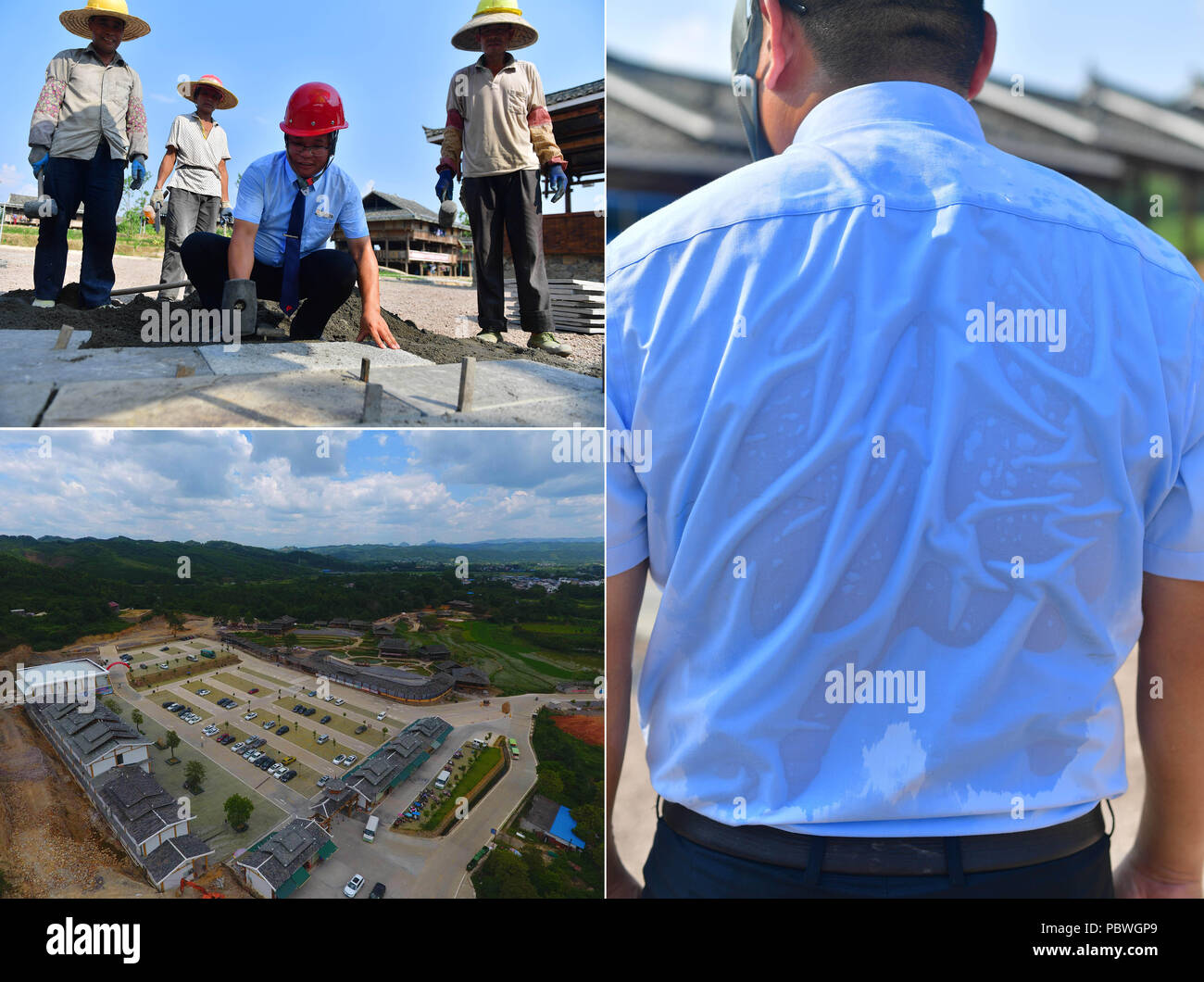 (180730) -- RONGSHUI, July 30, 2018 (Xinhua) -- The combined photo shows the construction site of the Shuanglonggou Forest Tourist Resort in Rongshui Miao Autonomous County, south China's Guangxi Zhuang Autonomous Region, July 19, 2018 (L, bottom) and the vice general manager of the resort, Pan Guixian, instructs the workers at the construction site (L, top) with his shirt soaked by sweat in the summer heat (R), July 20, 2018.  Due to harsh environmental conditions, Rongshui has long been a less developed area in China. Up to now, there are still 76,800 impoverished people living in the county - Stock Image