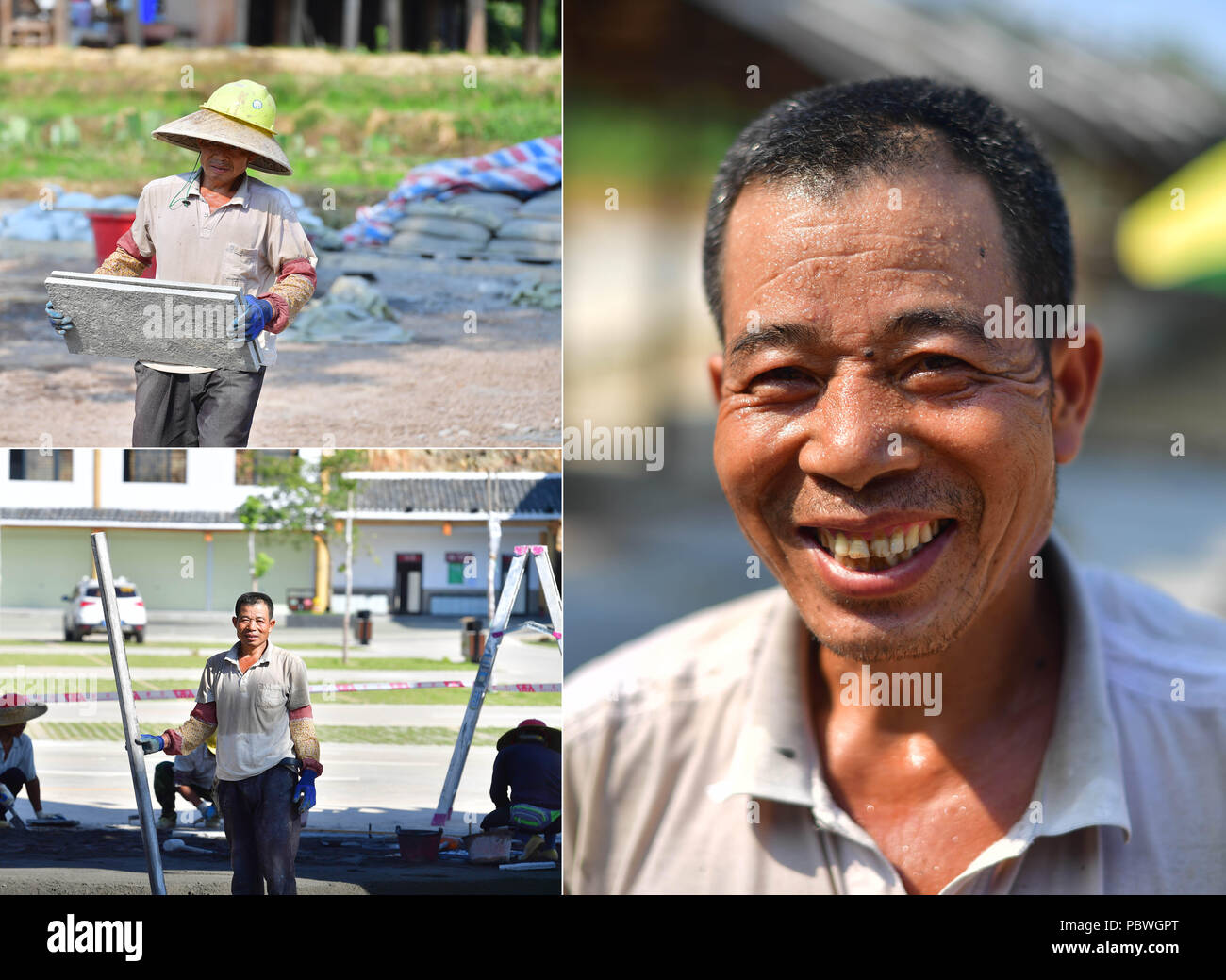 (180730) -- RONGSHUI, July 30, 2018 (Xinhua) -- The combined photo taken on July 20, 2018 shows He Renzhang, an impoverished villager, working at the construction site of the Shuanglonggou Forest Tourist Resort in Rongshui Miao Autonomous County, south China's Guangxi Zhuang Autonomous Region. Due to harsh environmental conditions, Rongshui has long been a less developed area in China. Up to now, there are still 76,800 impoverished people living in the county. In recent years, the local government carries out effective methods for poverty alleviation, helping local people to build roads, repai - Stock Image
