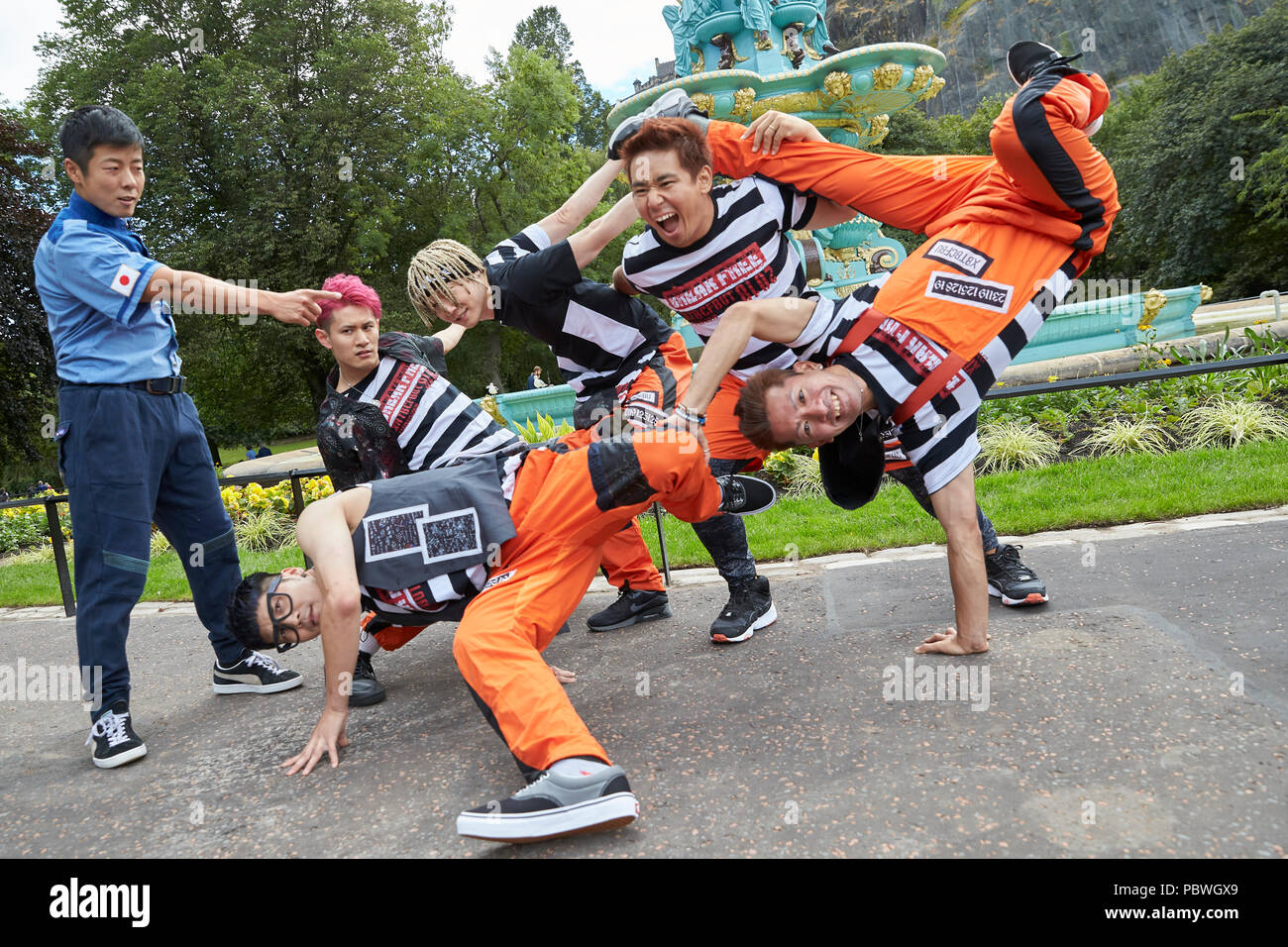 "Edinburgh, UK. 30th July 2018. Edinburgh Underbelly European premiere of ""Break Free"" featuring champion break dancers, each with world titles, who are ready to carve up the floor to reach dizzying new heights. Direct from Tokyo, this crew are world-class urban dancers, fusing the very best in skill and technique, state of the art technology and a thumping soundscape, alongside breath-taking tricks! Break Free is the ultimate breakdance fairy-tale. Credit: Andrew Eaton/Alamy Live News - Stock Image"