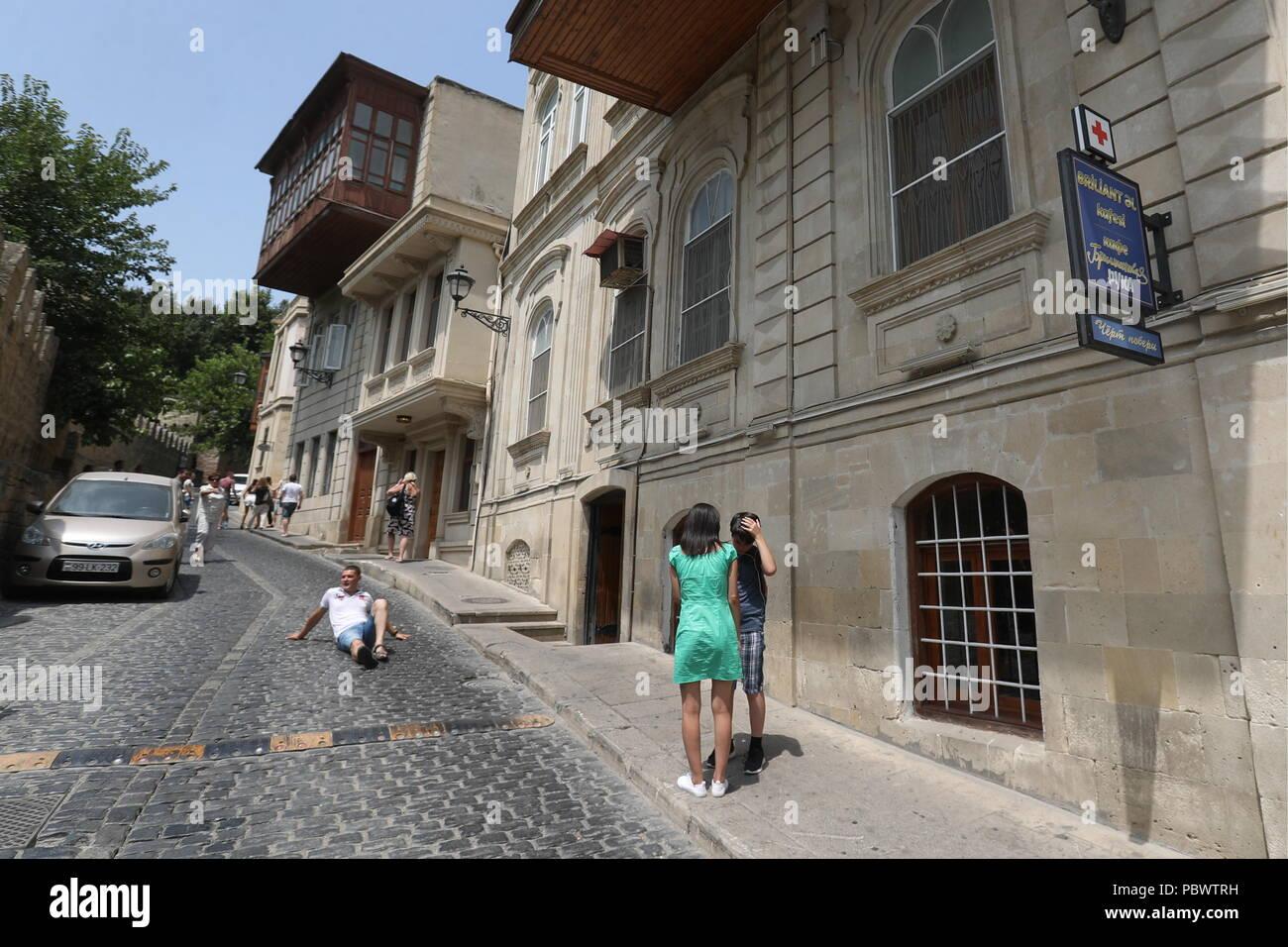 Baku, Azerbaijan. 28th July, 2018. BAKU, AZERBAIJAN - JULY 28, 2018: A street in Icheri-Sheher (or the Old City) in central Baku. Vyacheslav Prokofyev/TASS Credit: ITAR-TASS News Agency/Alamy Live News - Stock Image