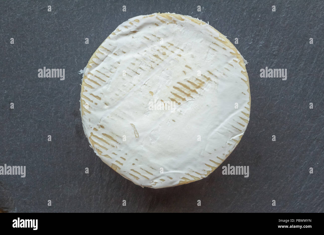 Camembert cheese isolated on black slate cheese board - Top view photo of whole uncut round - Stock Image